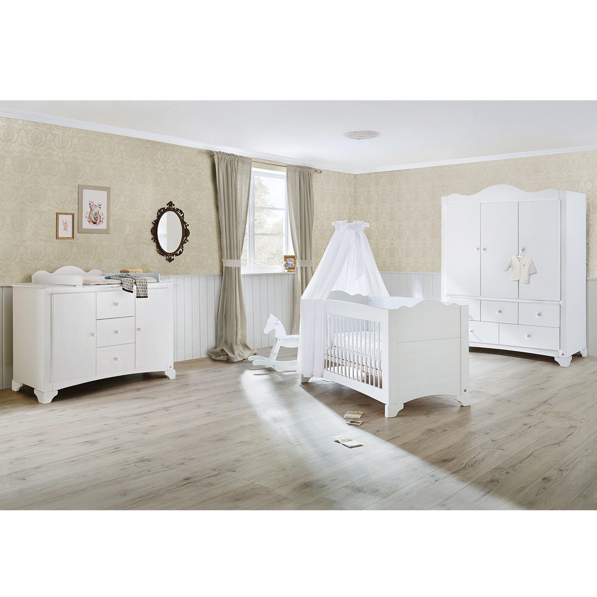 Pinolino 3-tlg. Babyzimmer Pino extrabreit groß mit 3-türigem Kleiderschrank