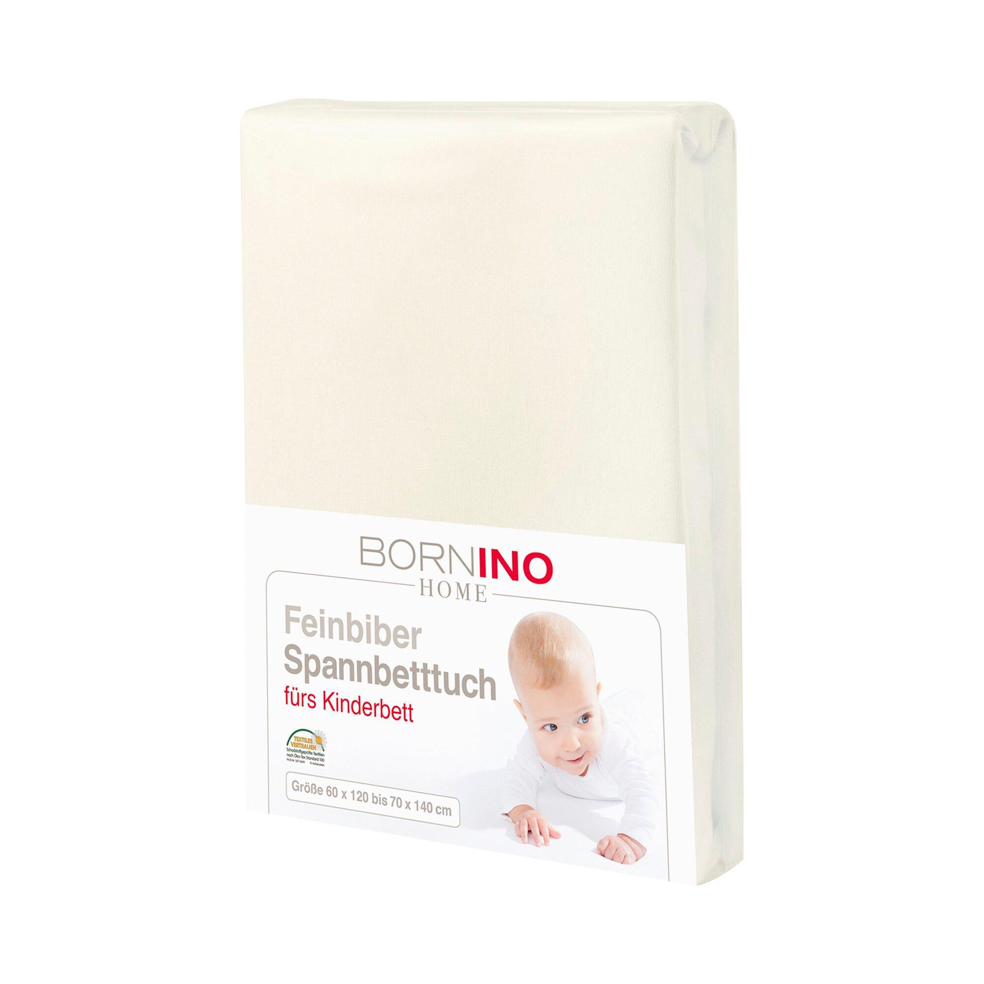 Bornino Home Feinbiber-Spannbetttuch 60x120 cm - 70x140 cm natur 70