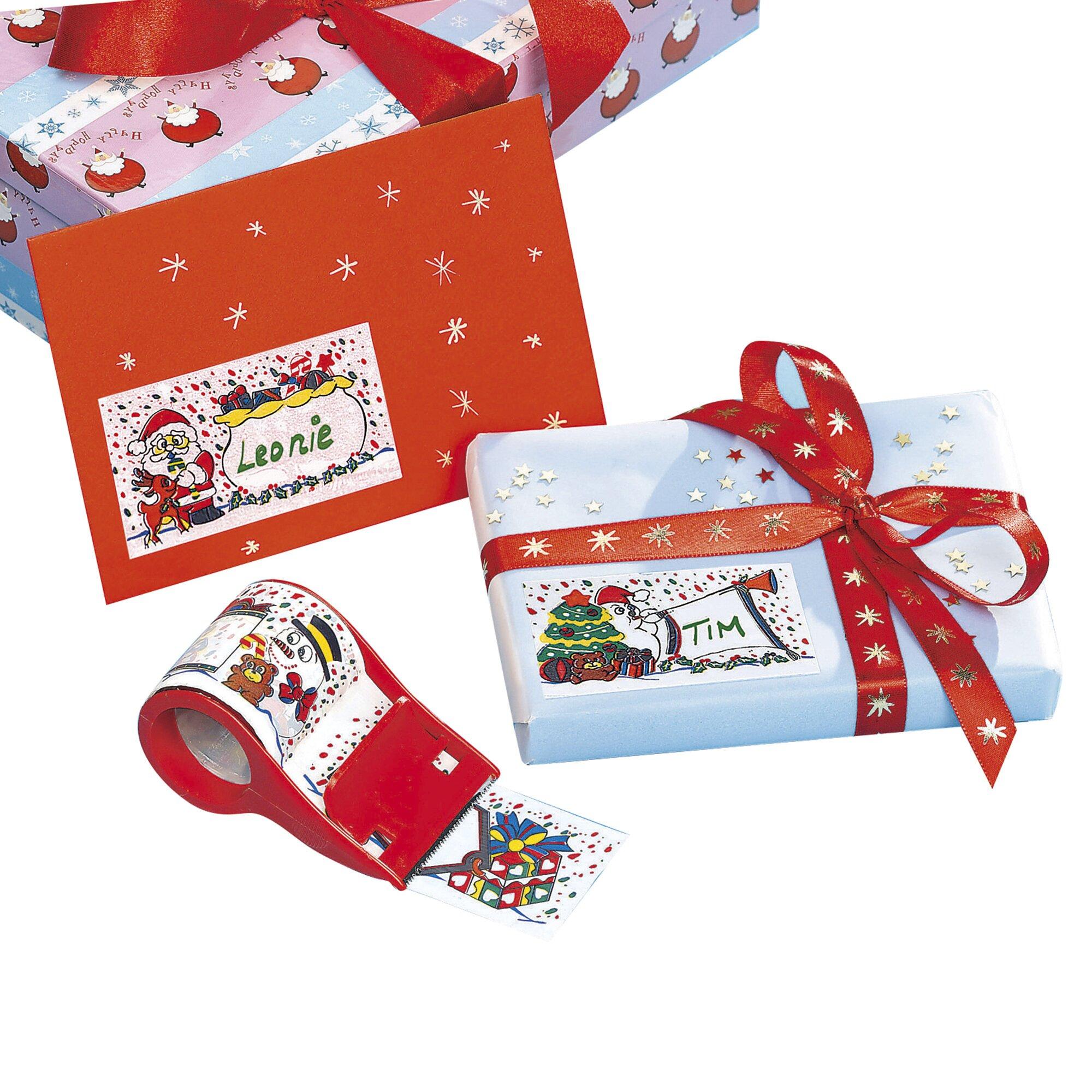Weihnachtliche Präsent-Etiketten mit Abroller