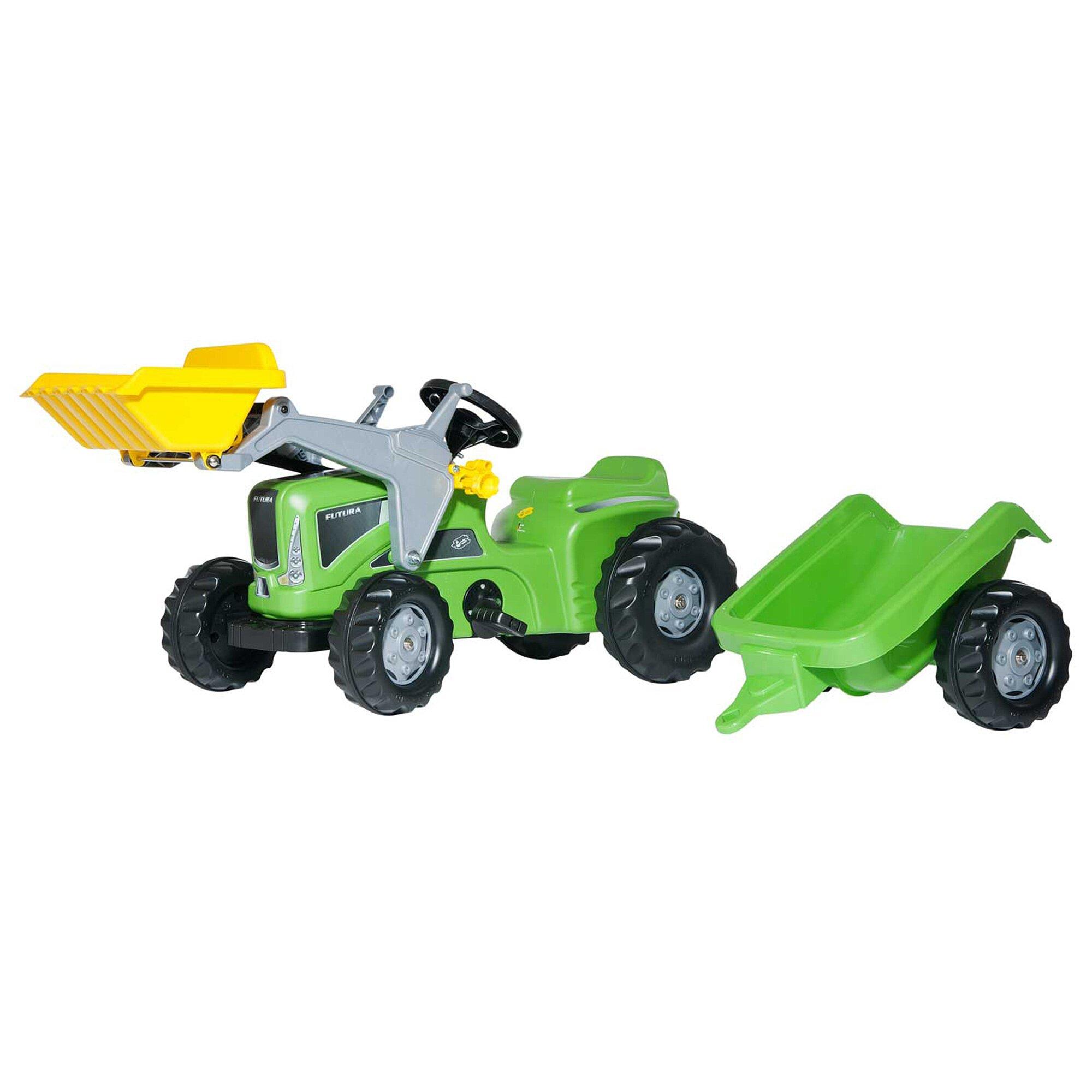 Rolly Toys® Trettraktor Rolly Kiddy Futura mit Frontlader und Anhänger
