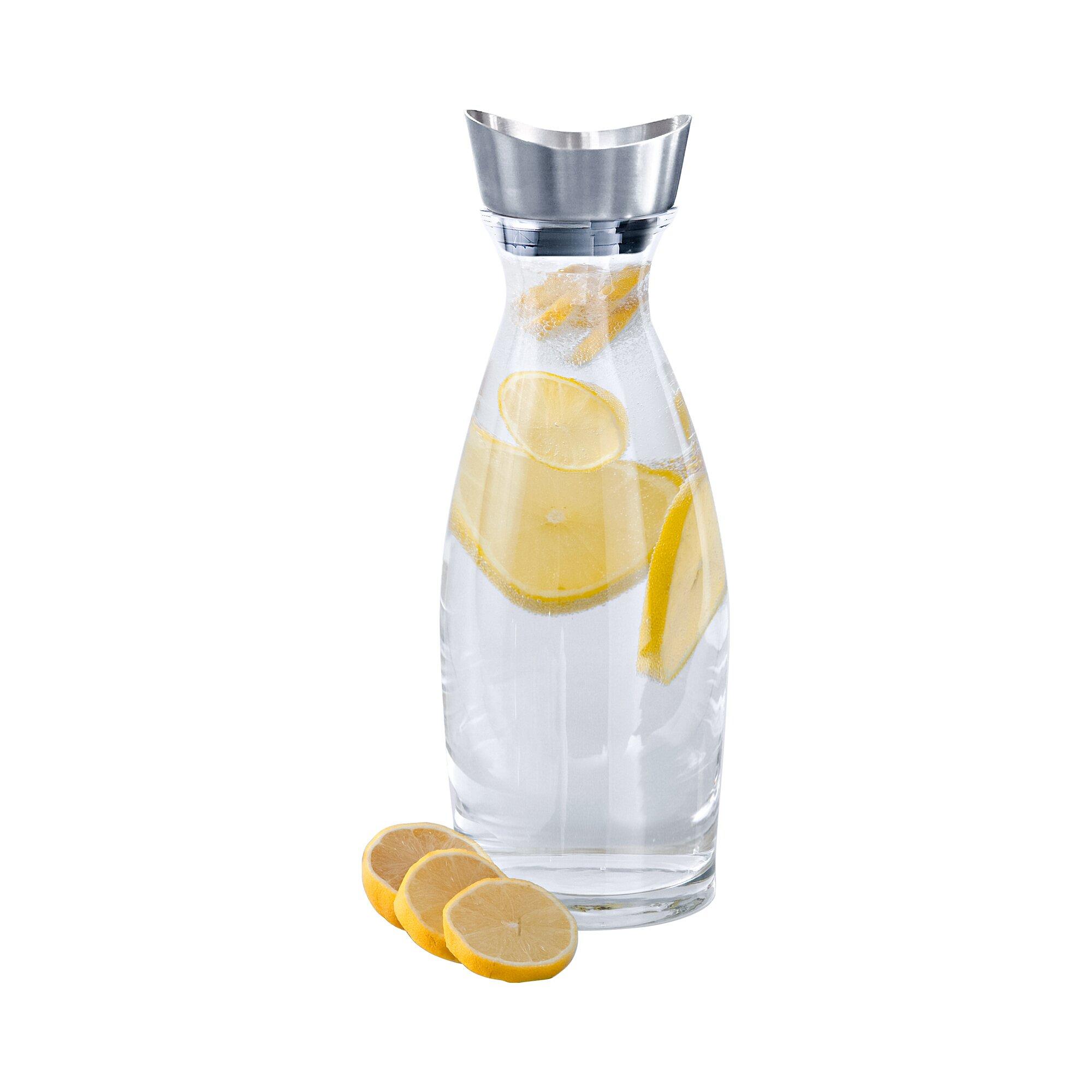 """Image of Wasserkaraffe """"Glas"""" mit Edelstahl Ausgieß-Deckel"""