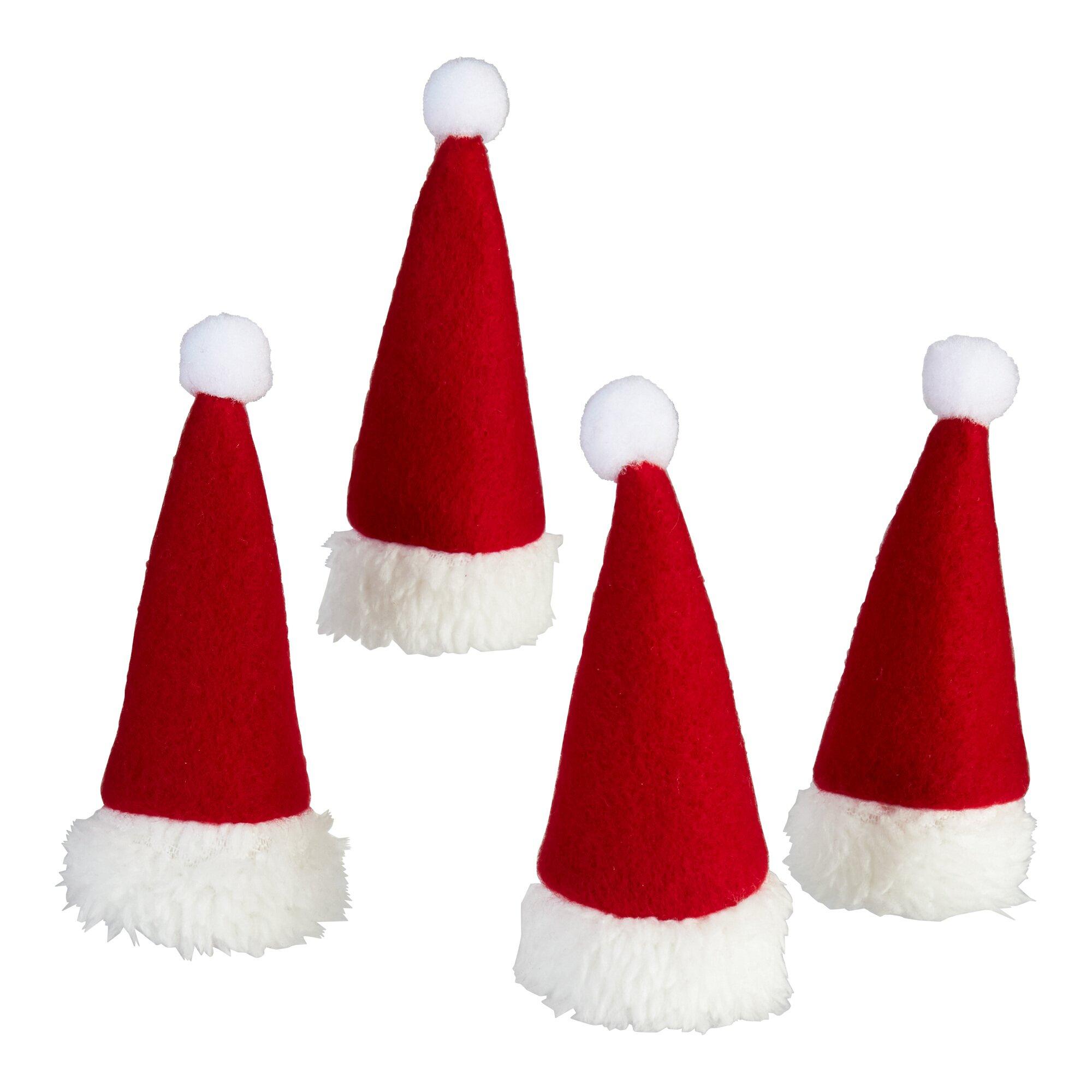 """Image of Flaschen-Mützen """"Santa"""", 4 Stück"""