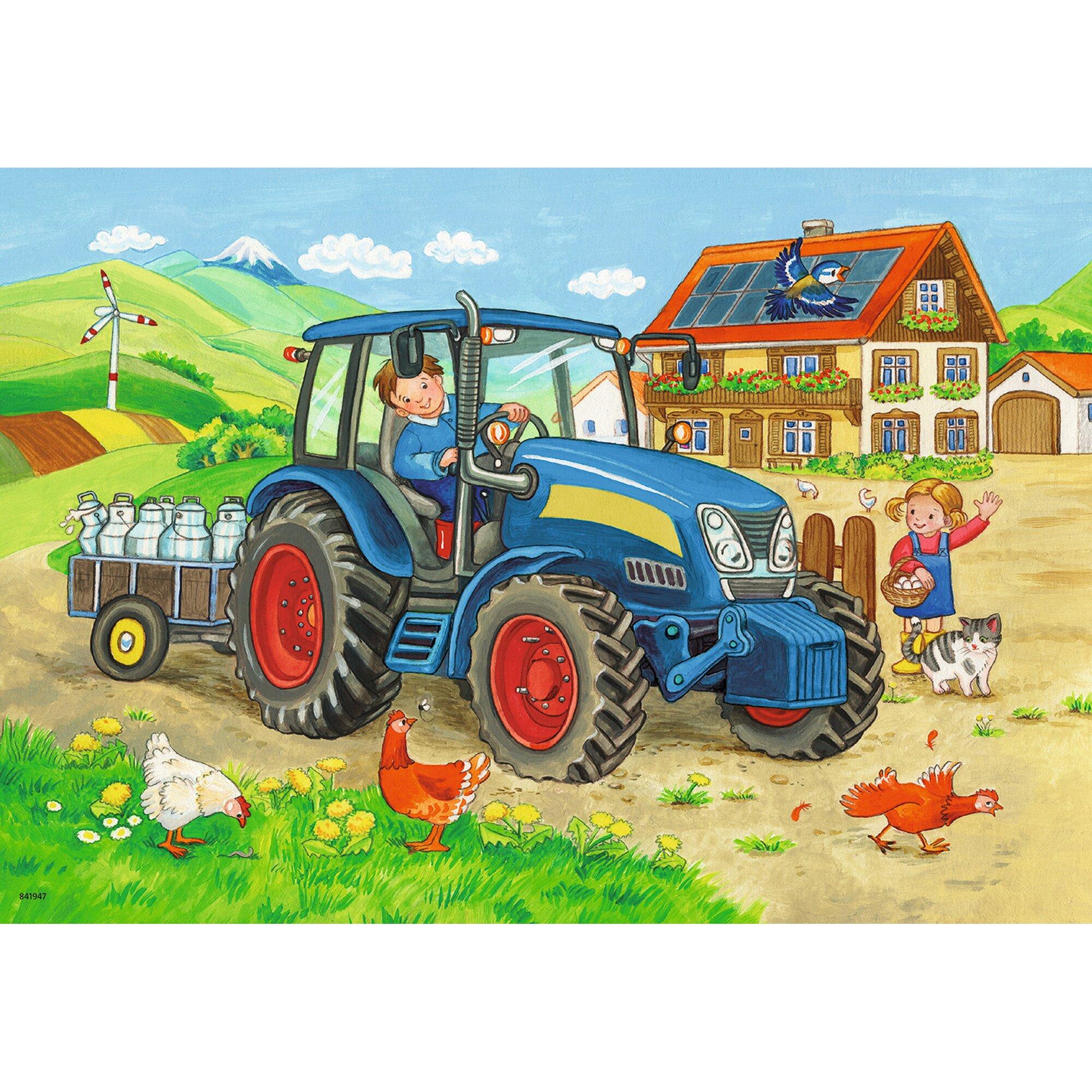 ravensburger-zwei-kinderpuzzles-inkl-mini-postern-12-teile-baustelle-und-bauernhof, 9.99 EUR @ babywalz-de