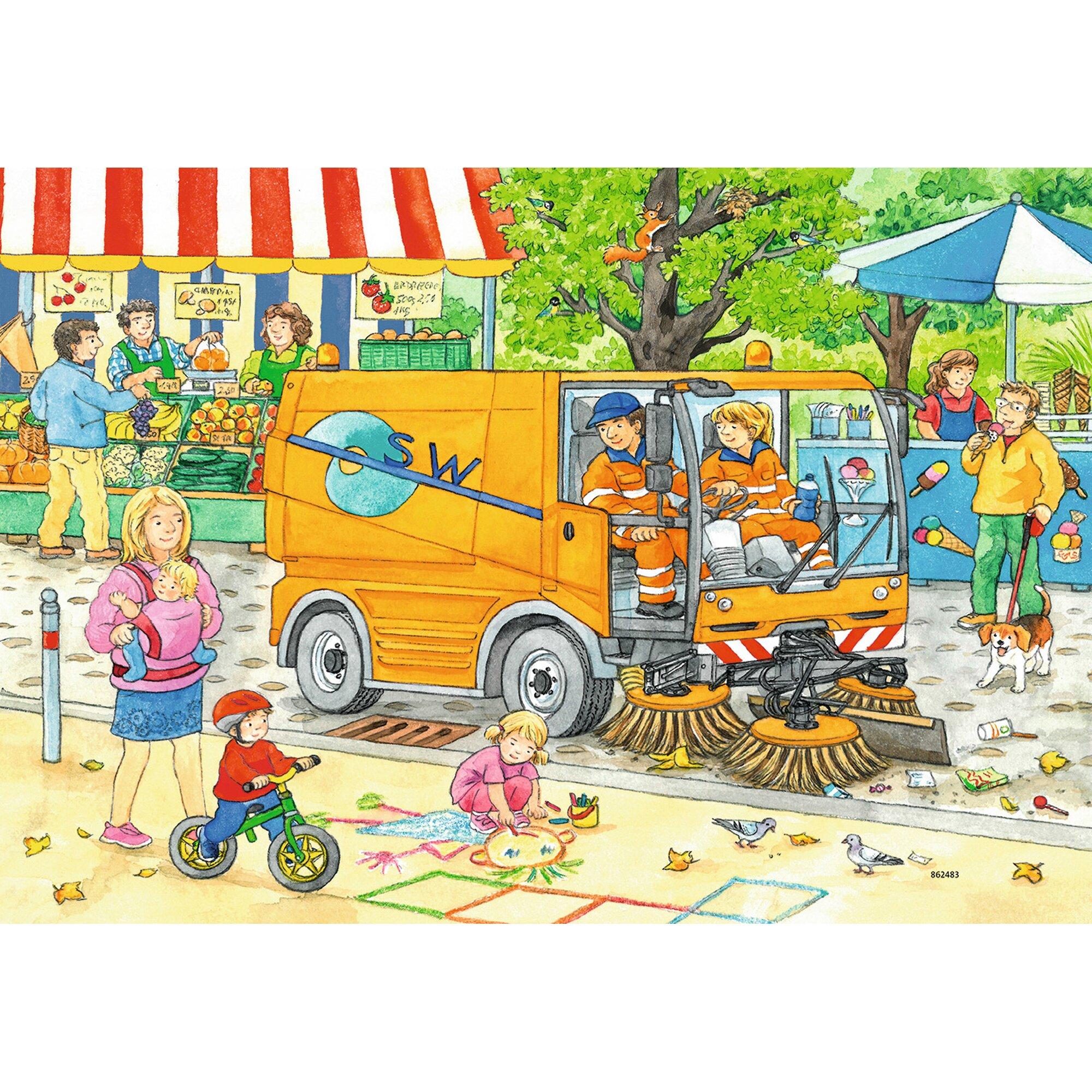 ravensburger-zwei-kinderpuzzles-inkl-mini-postern-12-teile-unterwegs-mit-mullabfuhr-und-kehrmaschine