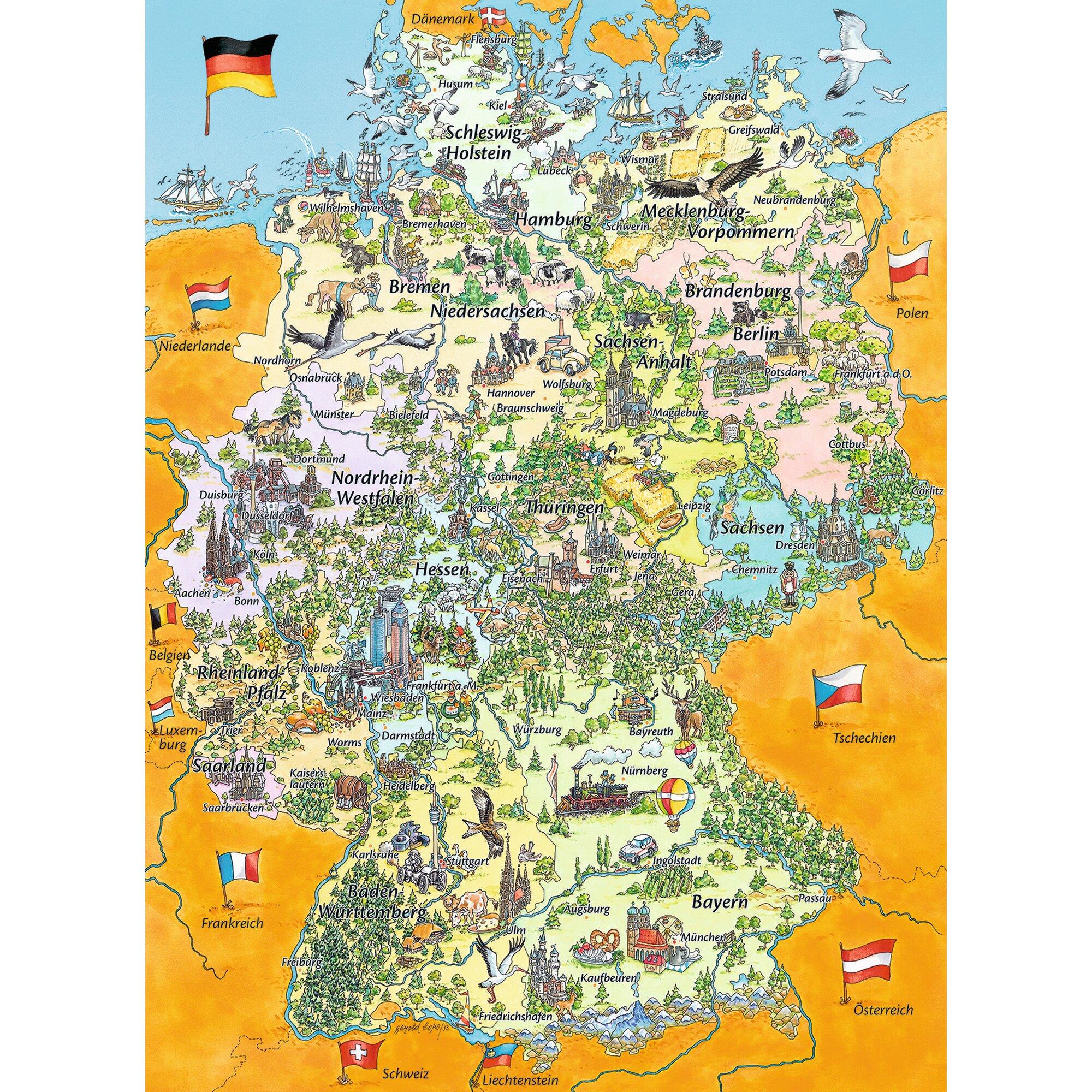 Kinderpuzzle im XXL-Format 100 Teile, Bunte Deutschlandkarte
