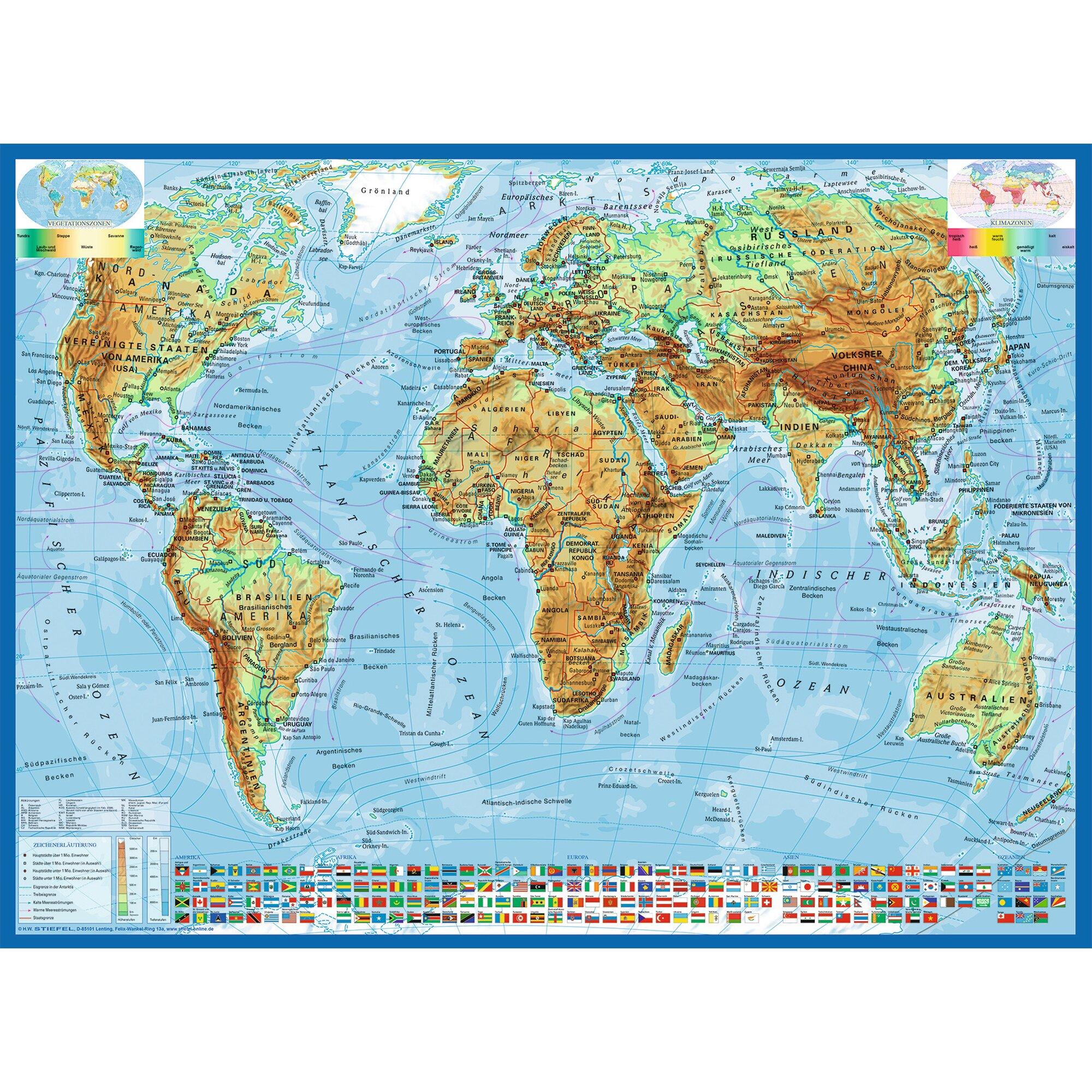 Kinderpuzzle im XXL-Format 300 Teile, Politische Weltkarte