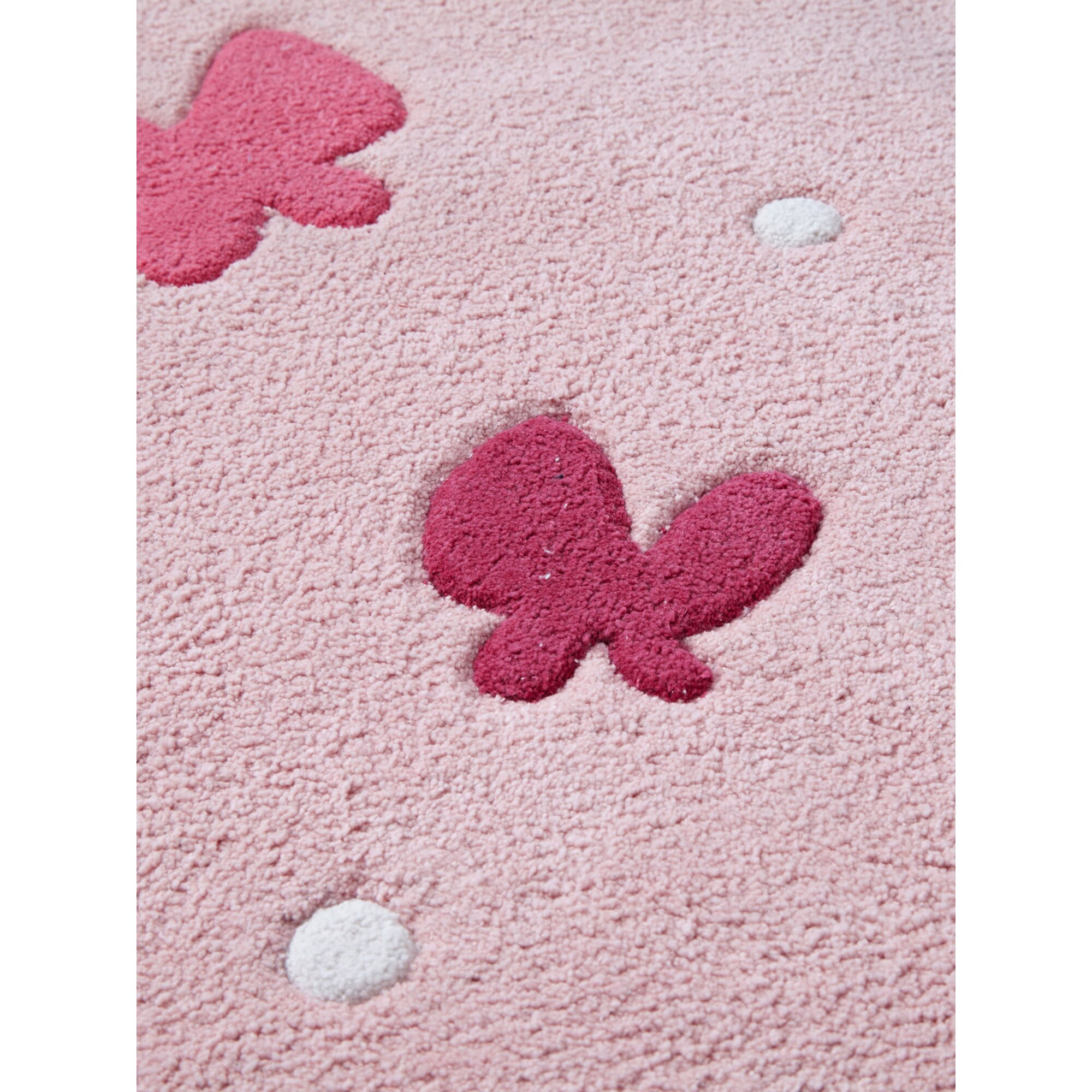 vertbaudet-kinderzimmer-teppich-schmetterlinge-rosa, 69.99 EUR @ babywalz-de