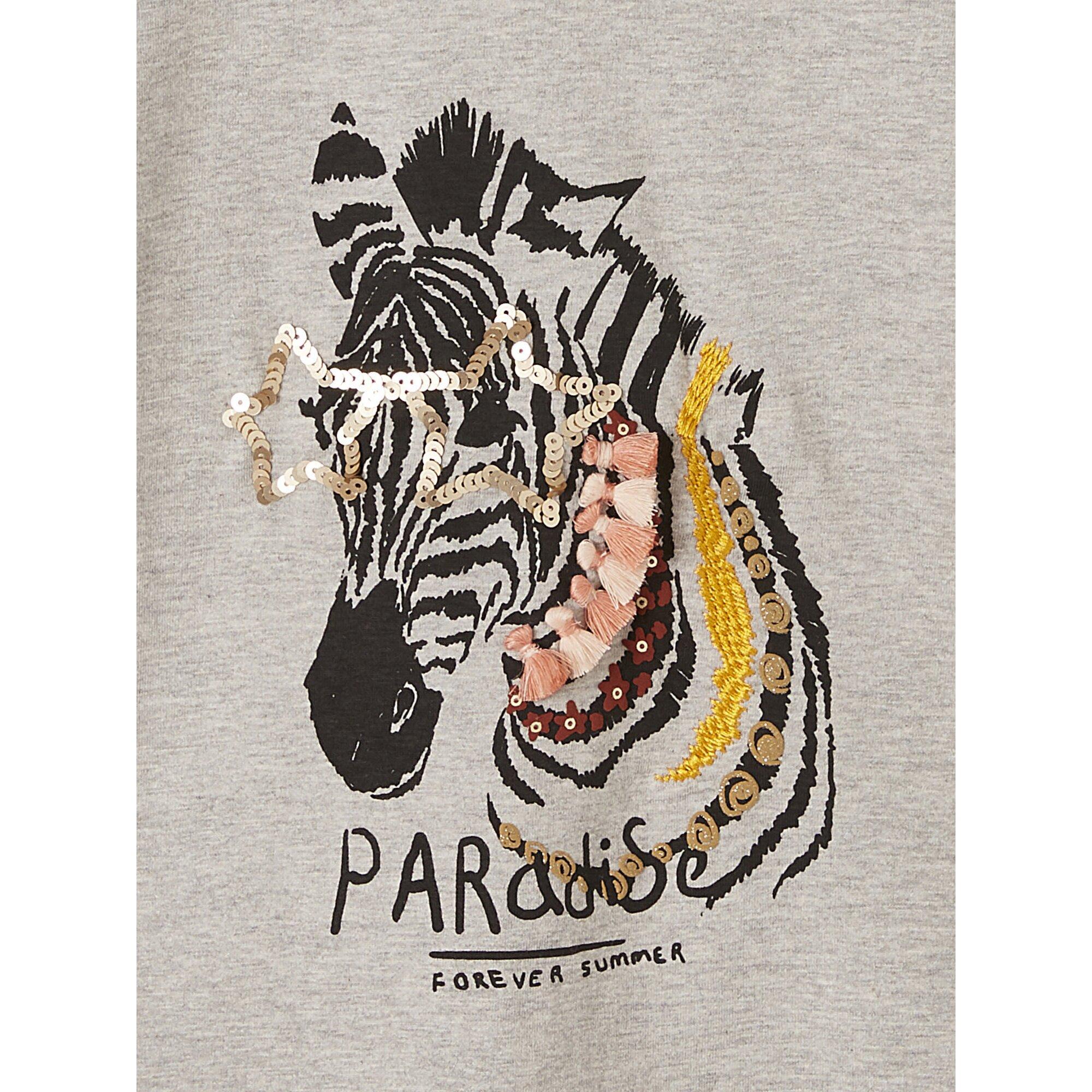 vertbaudet-besticktes-t-shirt-fur-madchen-pompons, 9.99 EUR @ babywalz-de