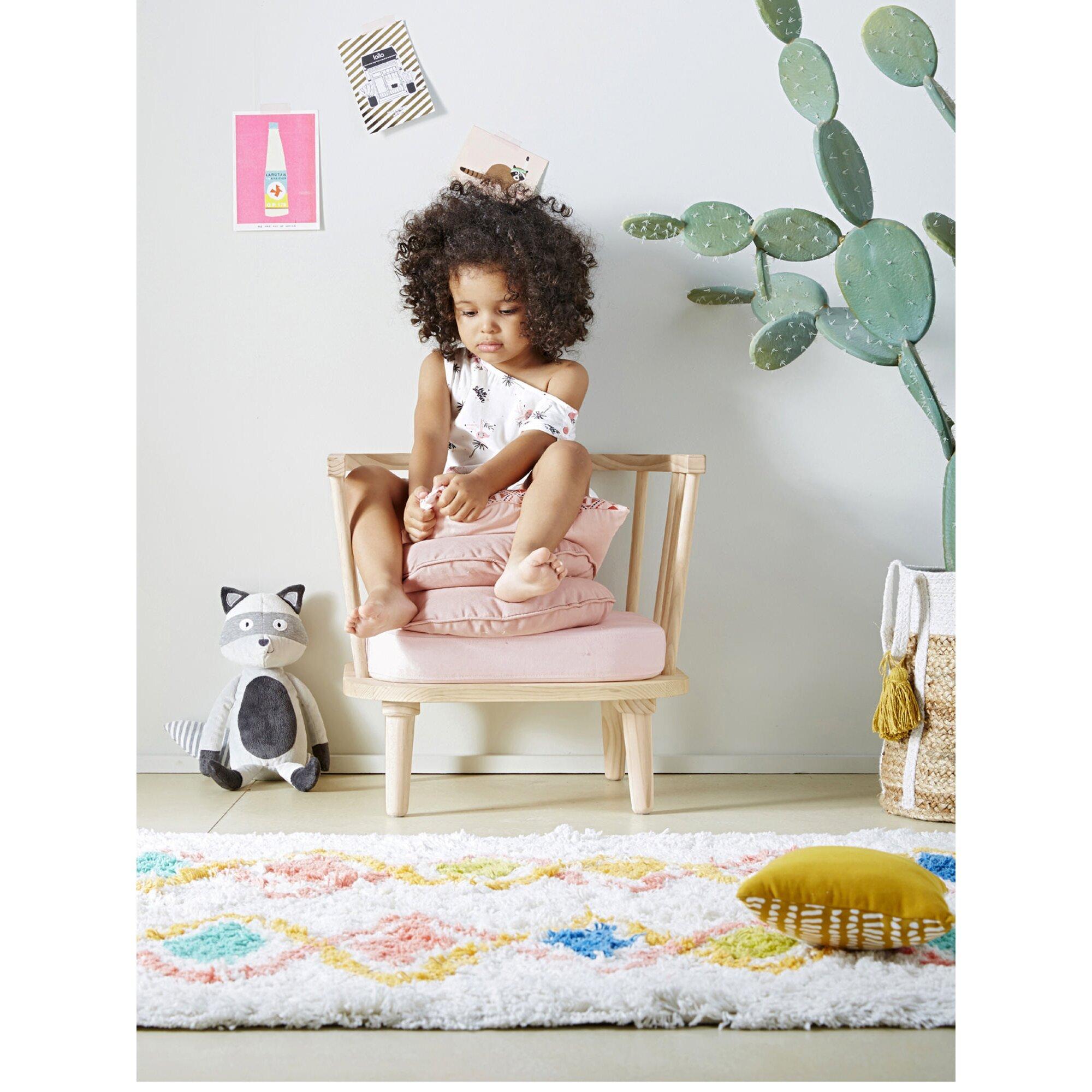 vertbaudet-hochflor-teppich-harlekin-baumwolle-mehrfarbig, 70.99 EUR @ babywalz-de