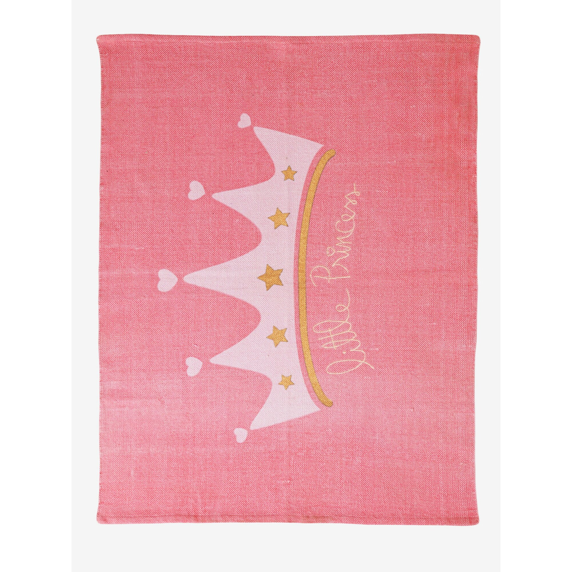 Kronen-Teppich aus Baumwolle rosa