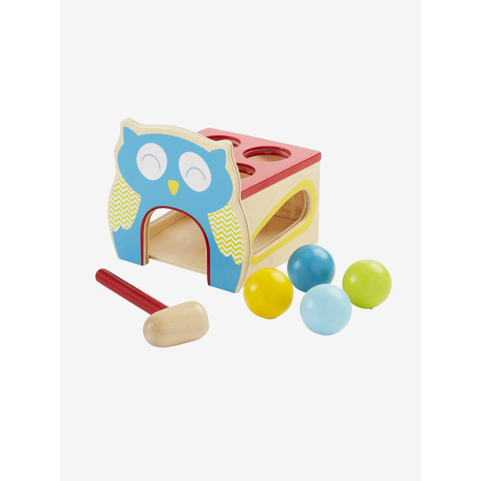 vertbaudet-klopfspielzeug-aus-holz-eule-mehrfarbig