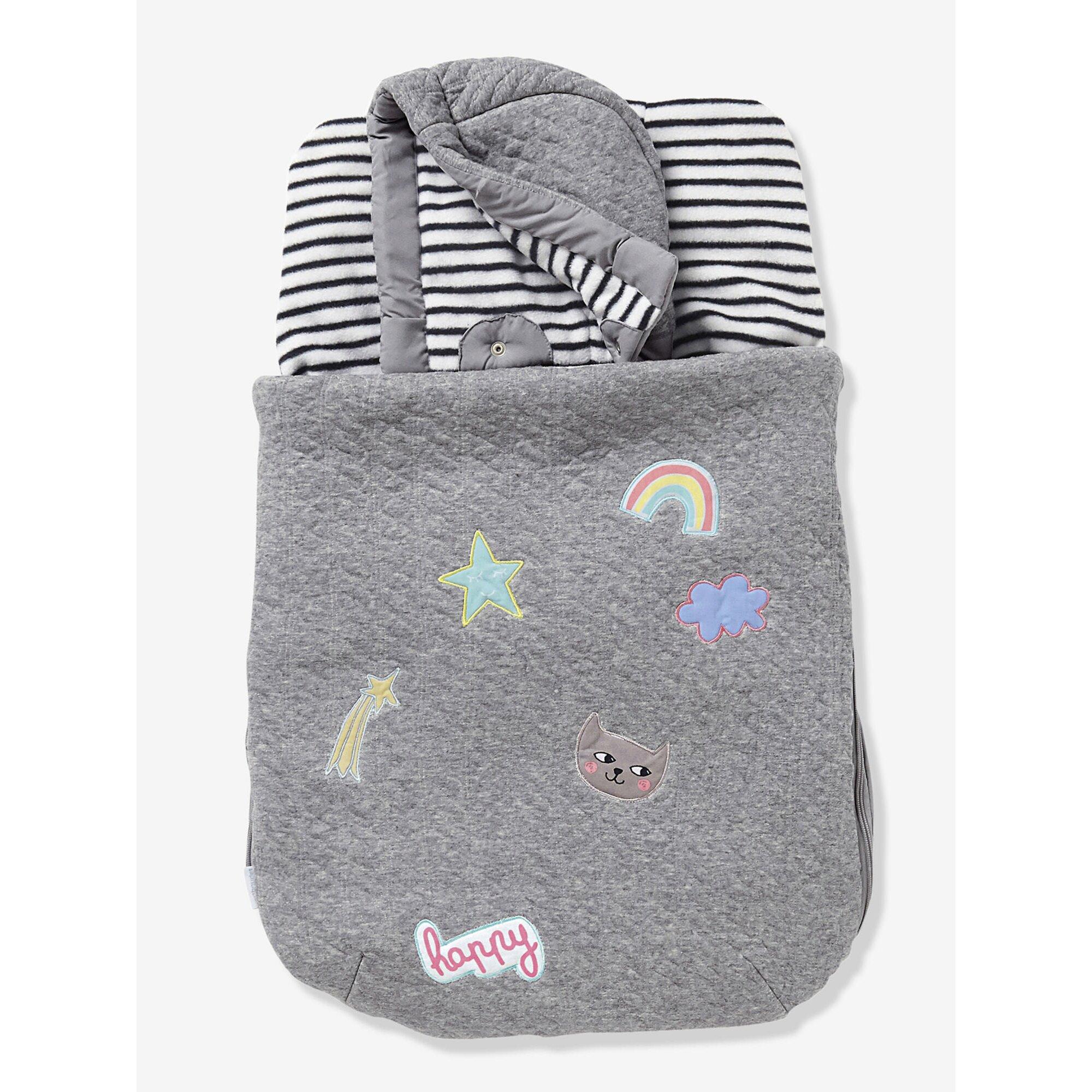 vertbaudet-fu-sack-fur-babyschale-fleecefutter-grau, 40.99 EUR @ babywalz-de