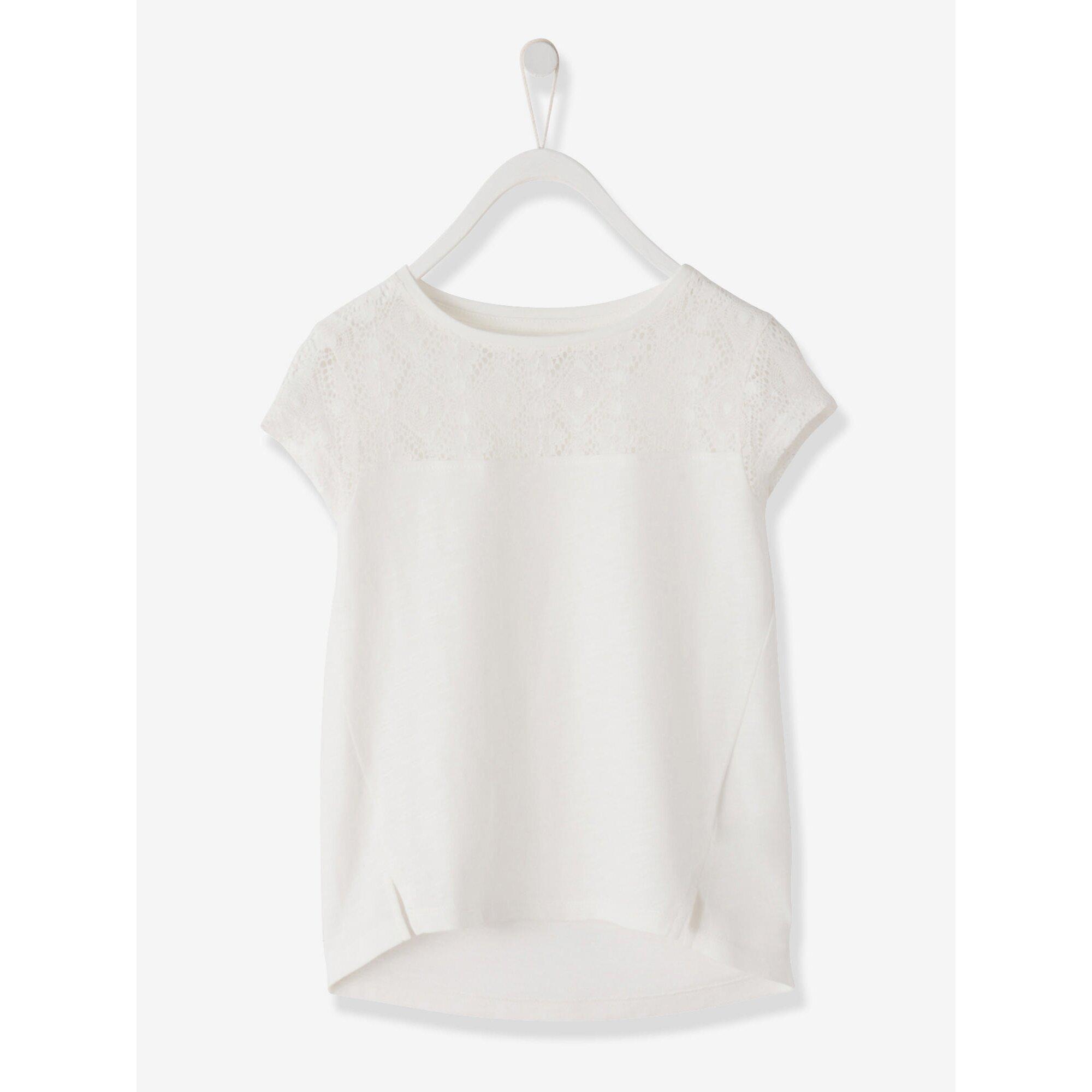 vertbaudet-madchen-kurzarm-shirt-mit-spitze, 9.99 EUR @ babywalz-de
