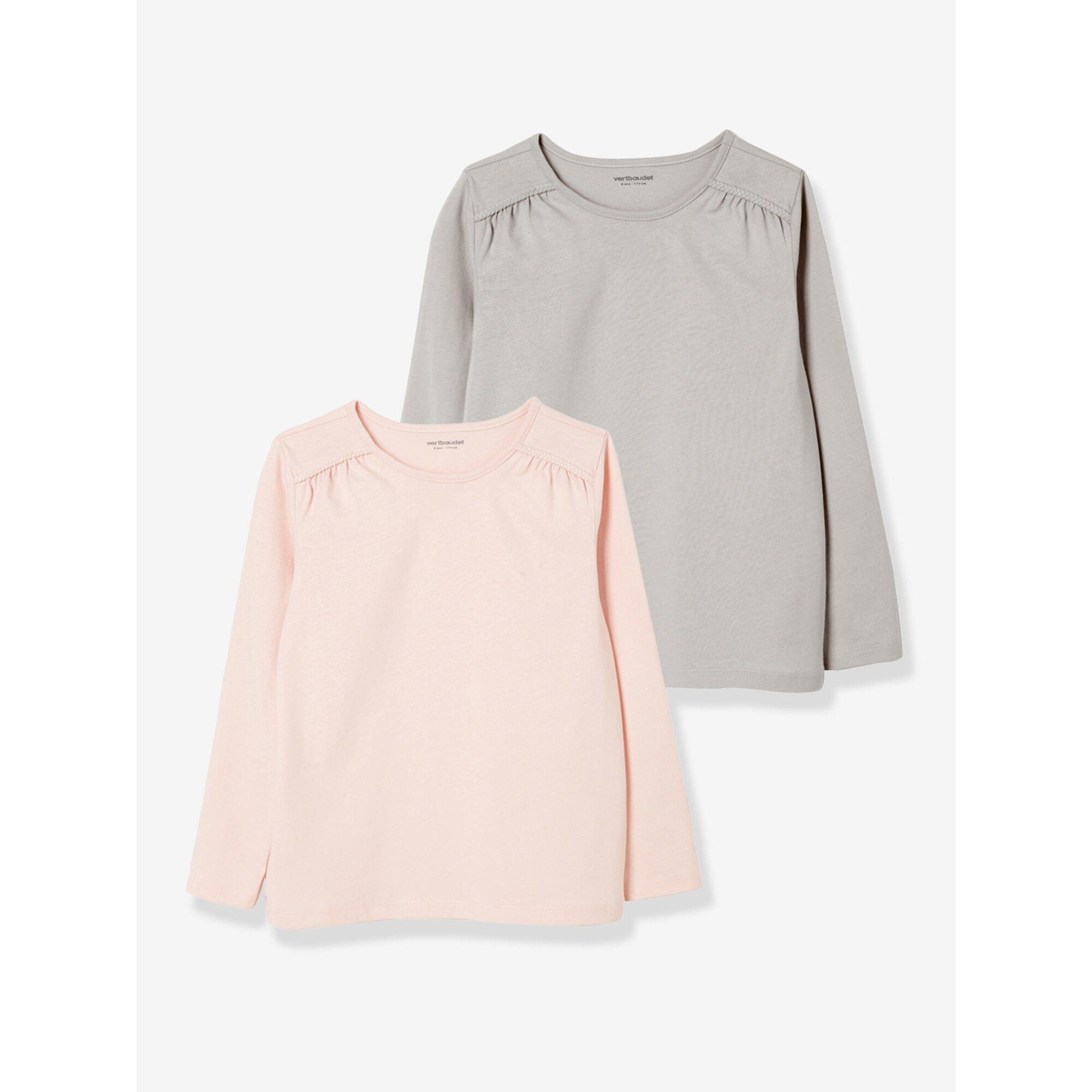 vertbaudet-2er-pack-langarm-shirts-fur-madchen-uni, 10.99 EUR @ babywalz-de