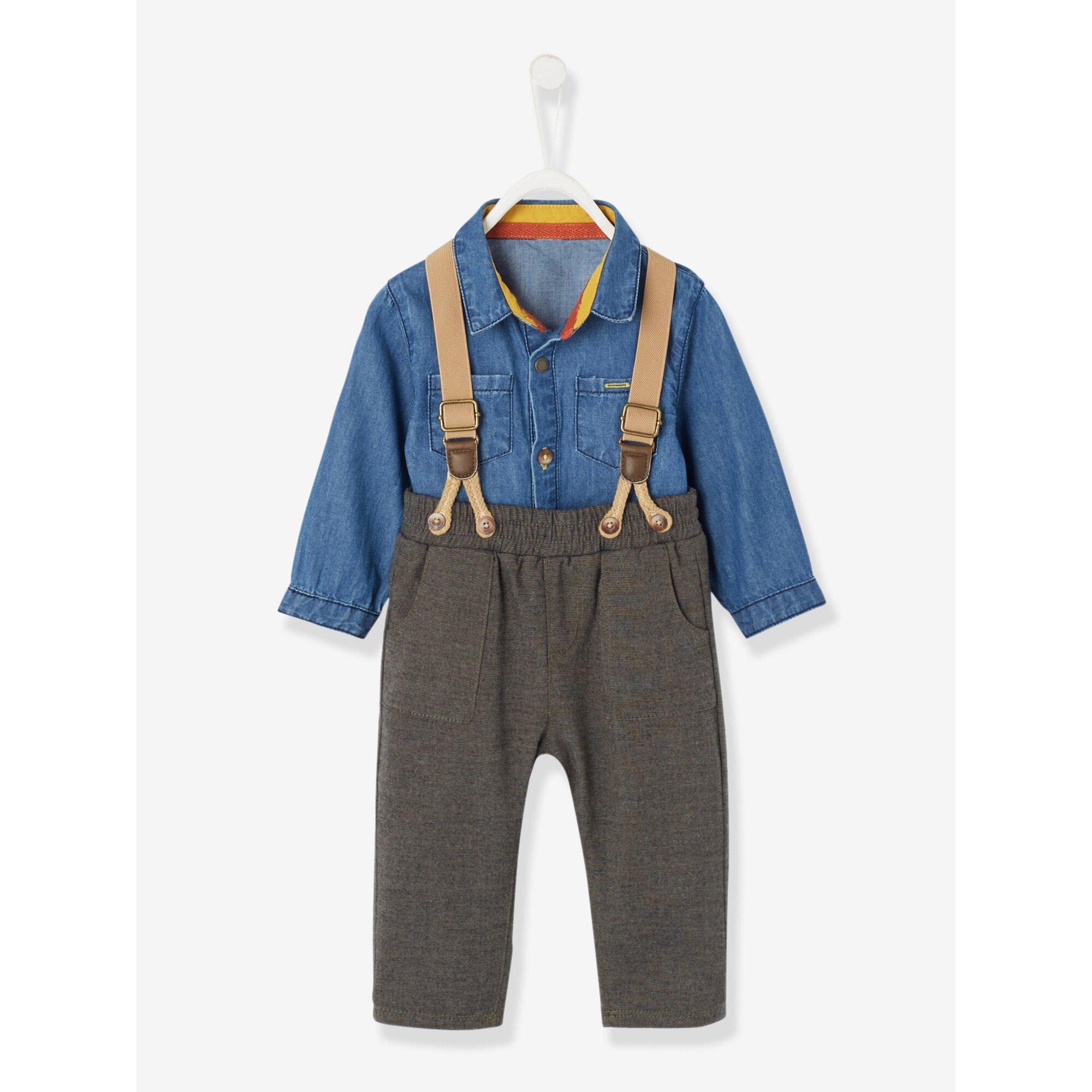 vertbaudet-hemd-und-hose-mit-tragern-baby-jungen, 35.99 EUR @ babywalz-de