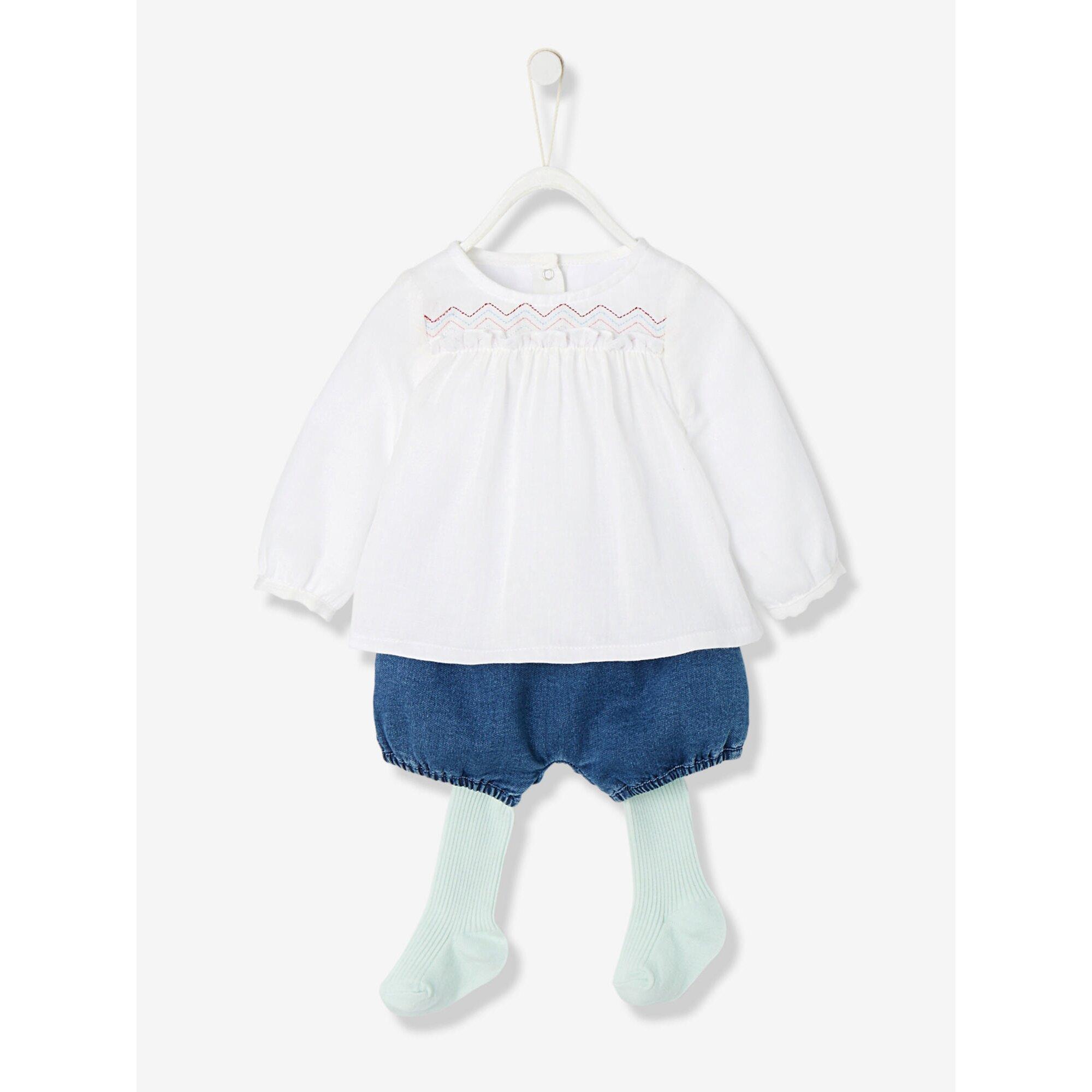 vertbaudet-baby-set-aus-bluse-strumpfhose-und-shorts, 30.99 EUR @ babywalz-de