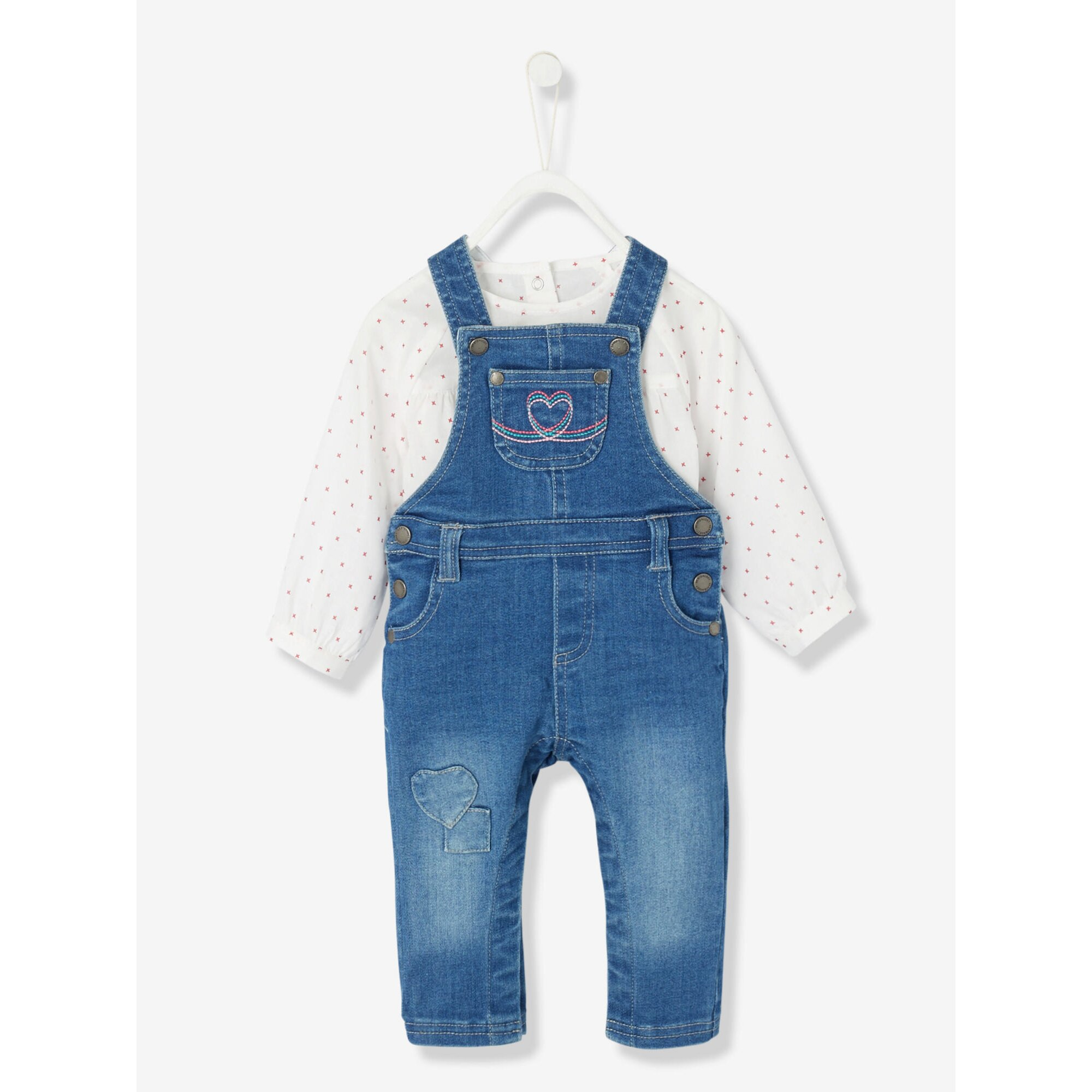 vertbaudet-set-baby-madchen-bluse-und-jeans-latzhose, 30.99 EUR @ babywalz-de