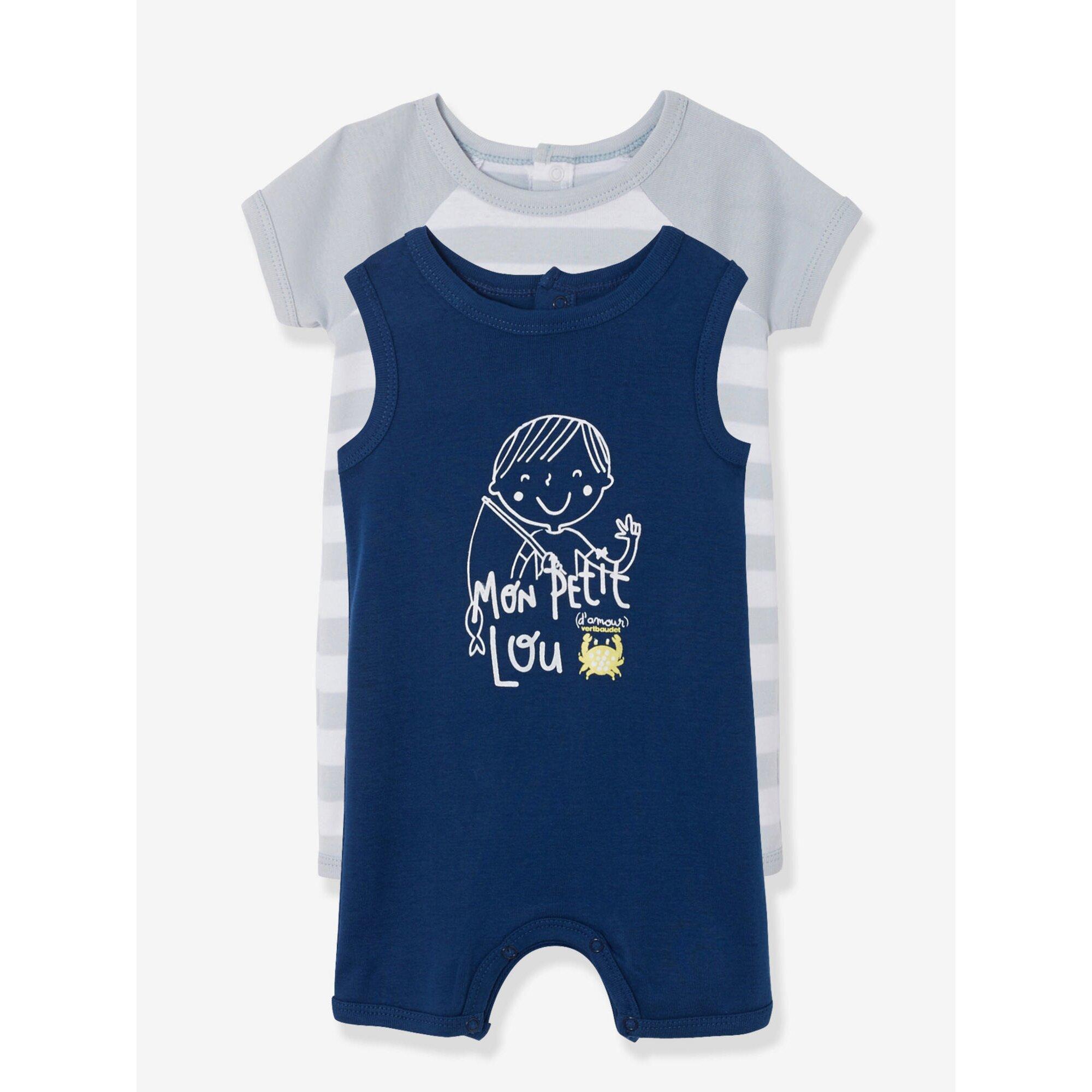 vertbaudet-2er-pack-jumpsuits-baby-jungen-kurzes-bein