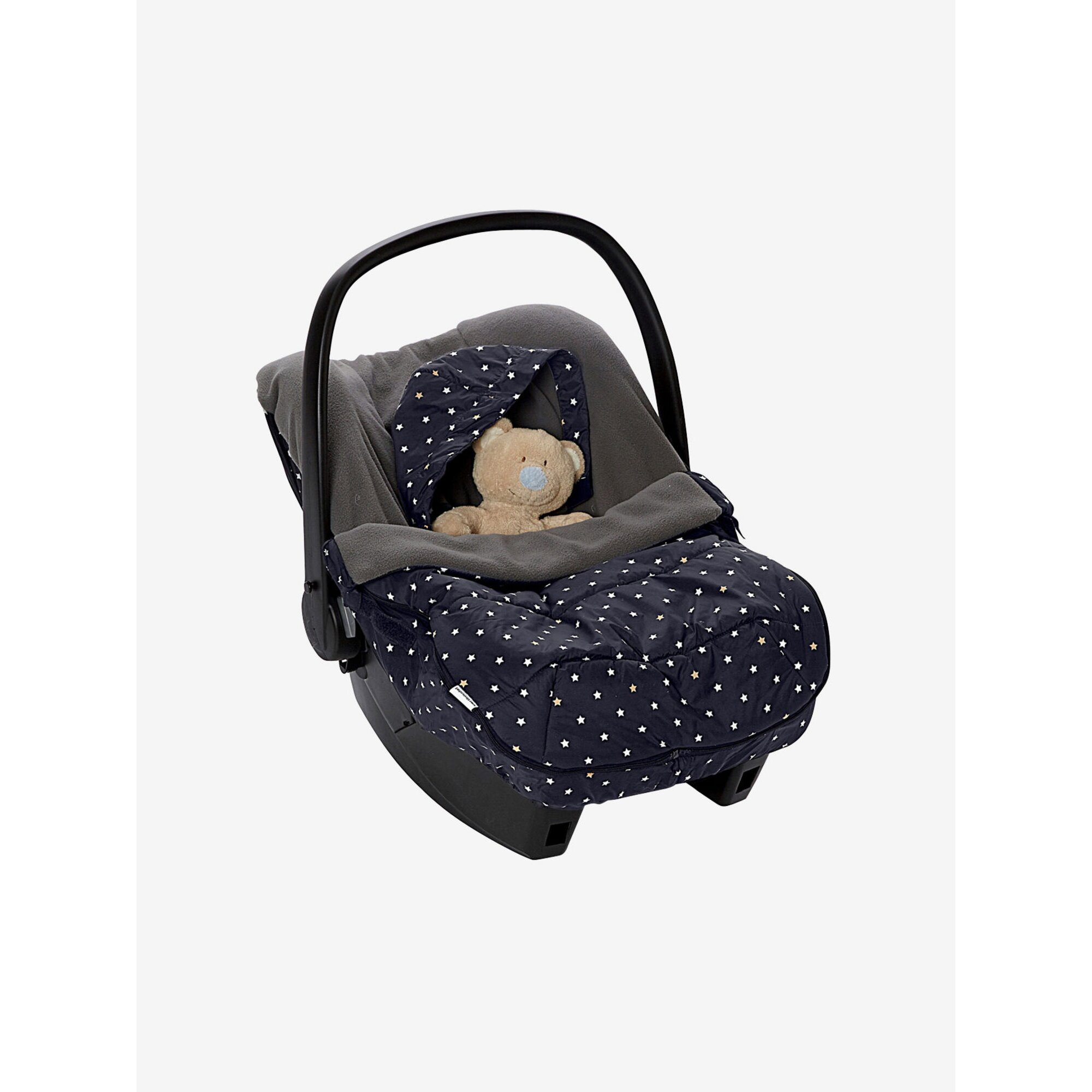 Vertbaudet Warmer Fußsack für Babyschalen mit Sternen schwarz