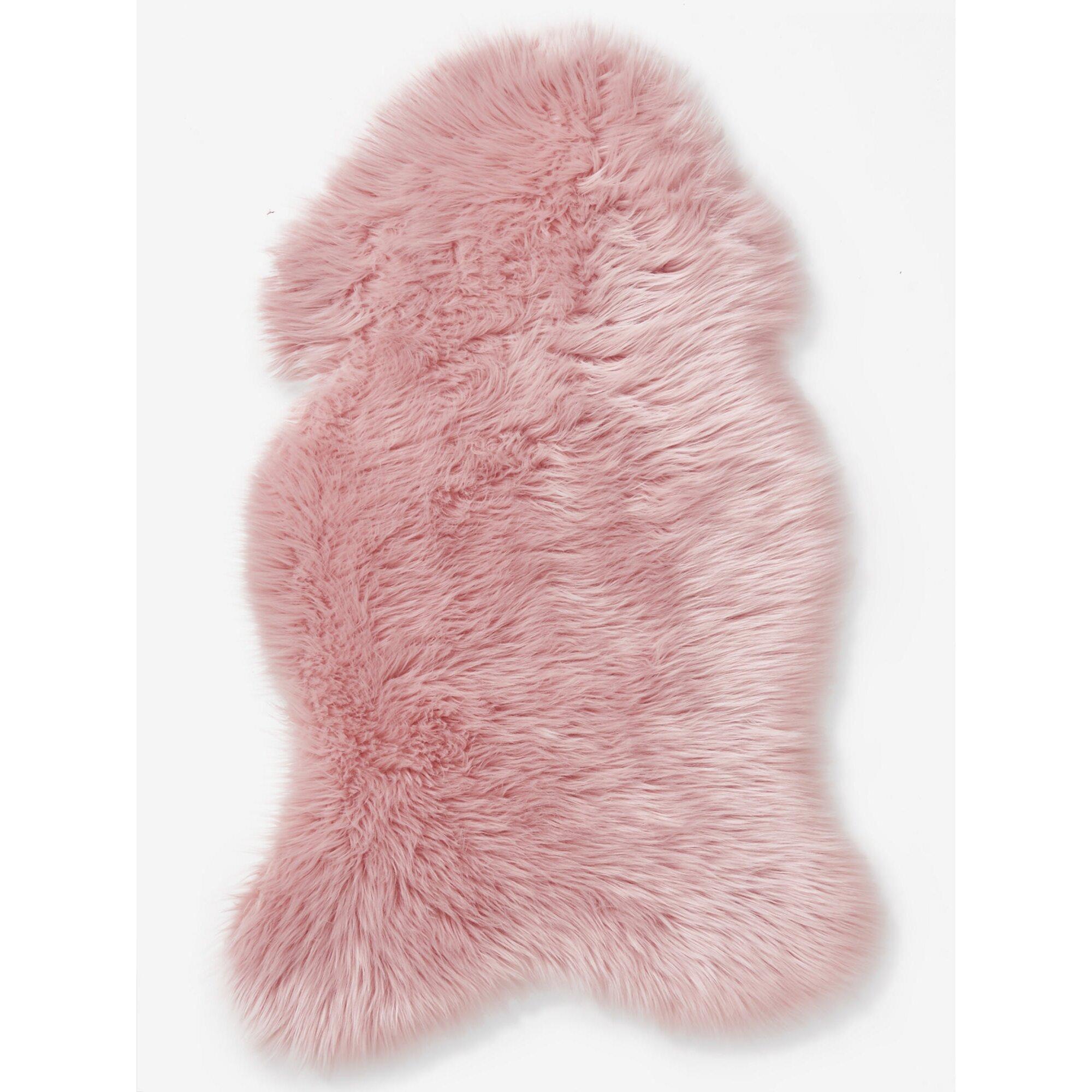 Vertbaudet Teppich in Schaffell-Optik für Kinderzimmer rosa