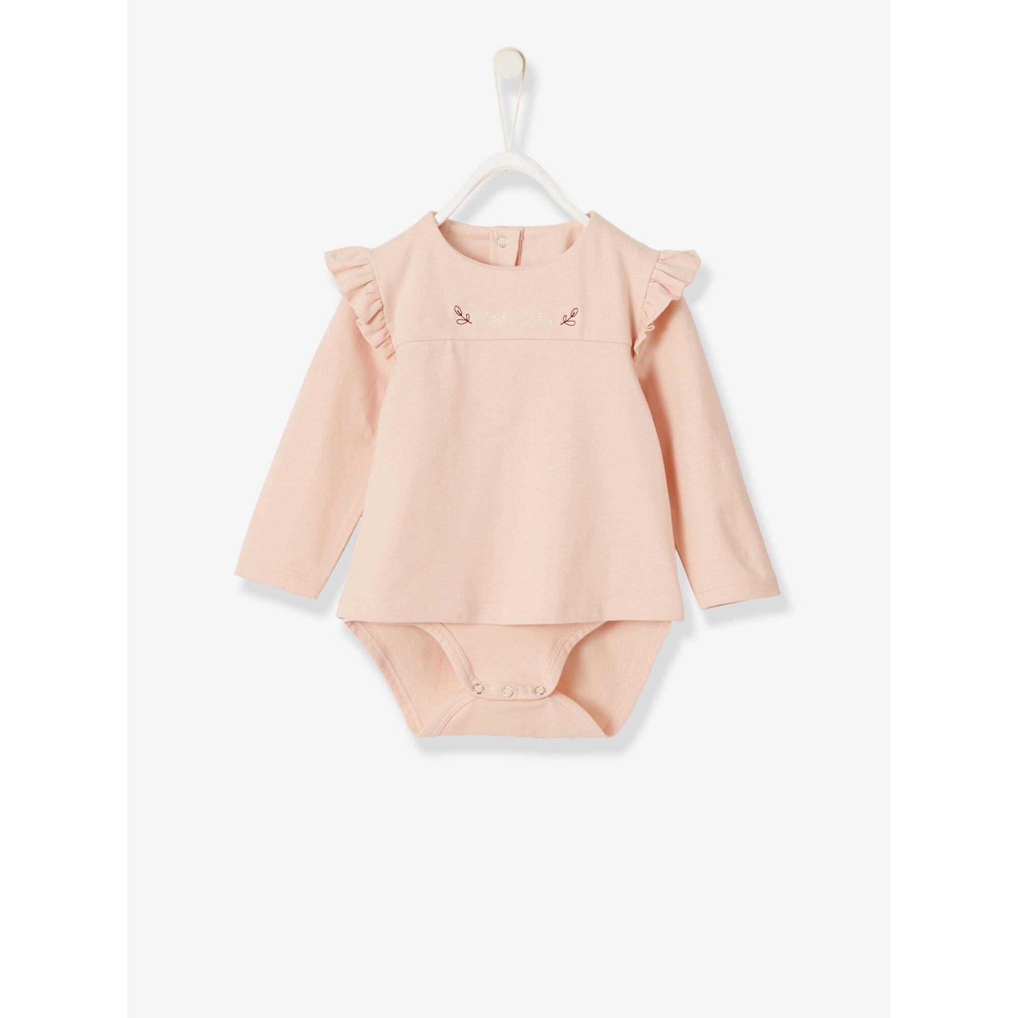 Vertbaudet Baby Shirt-Body mit Volants, Langarm