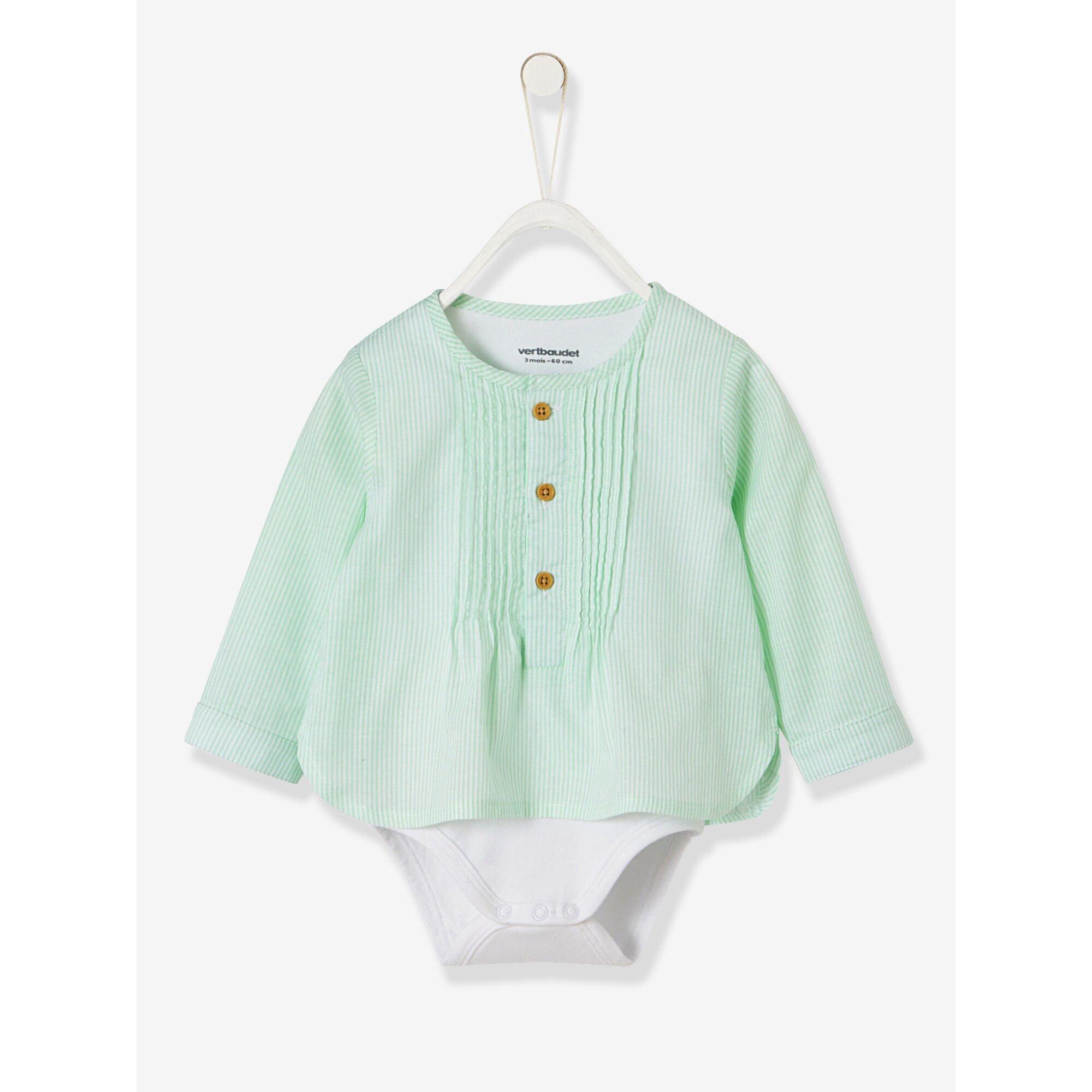 Vertbaudet Festlicher Baby Jungen Hemd-Body, gestreift