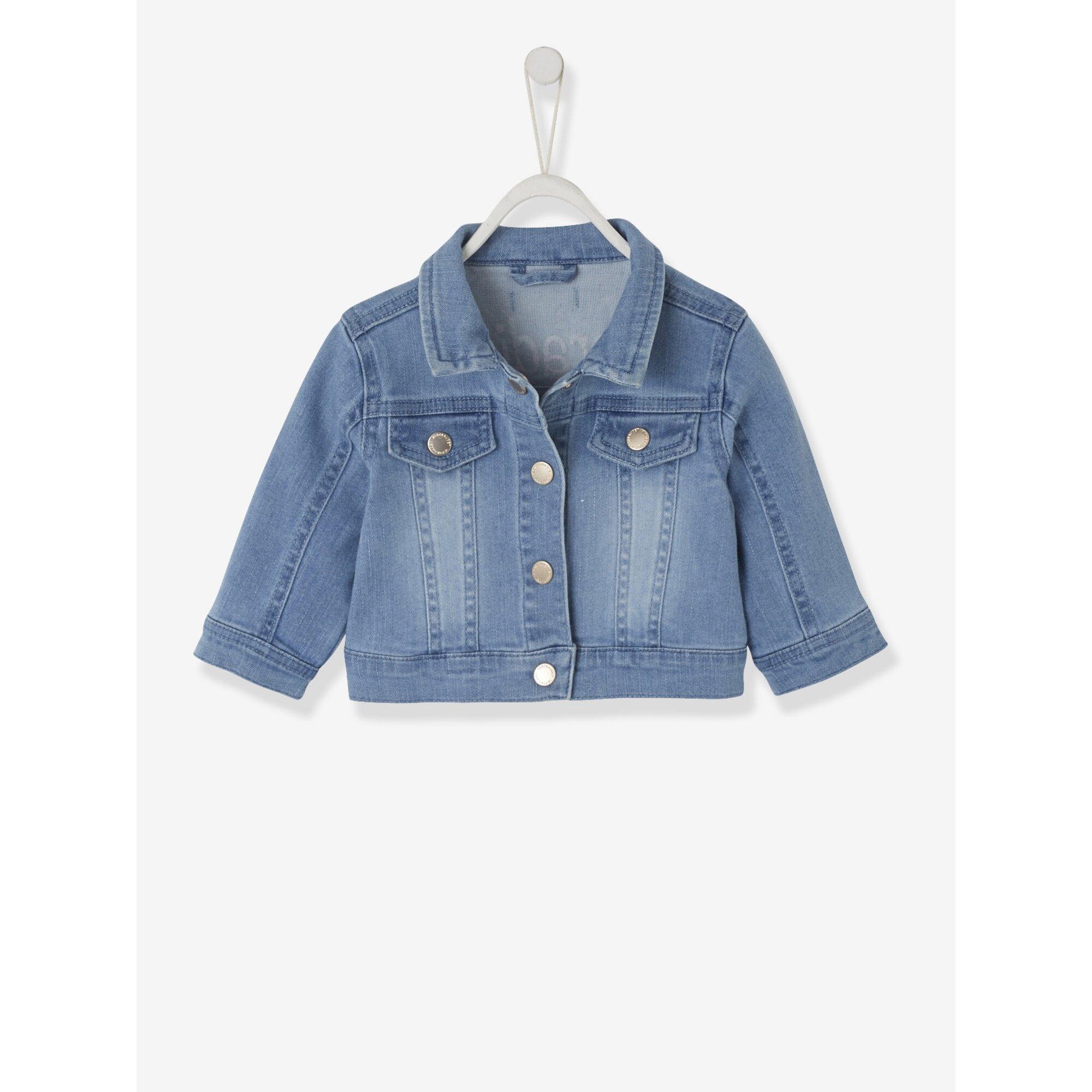 Vertbaudet Jeansjacke für Baby Mädchen, hinten bestickt