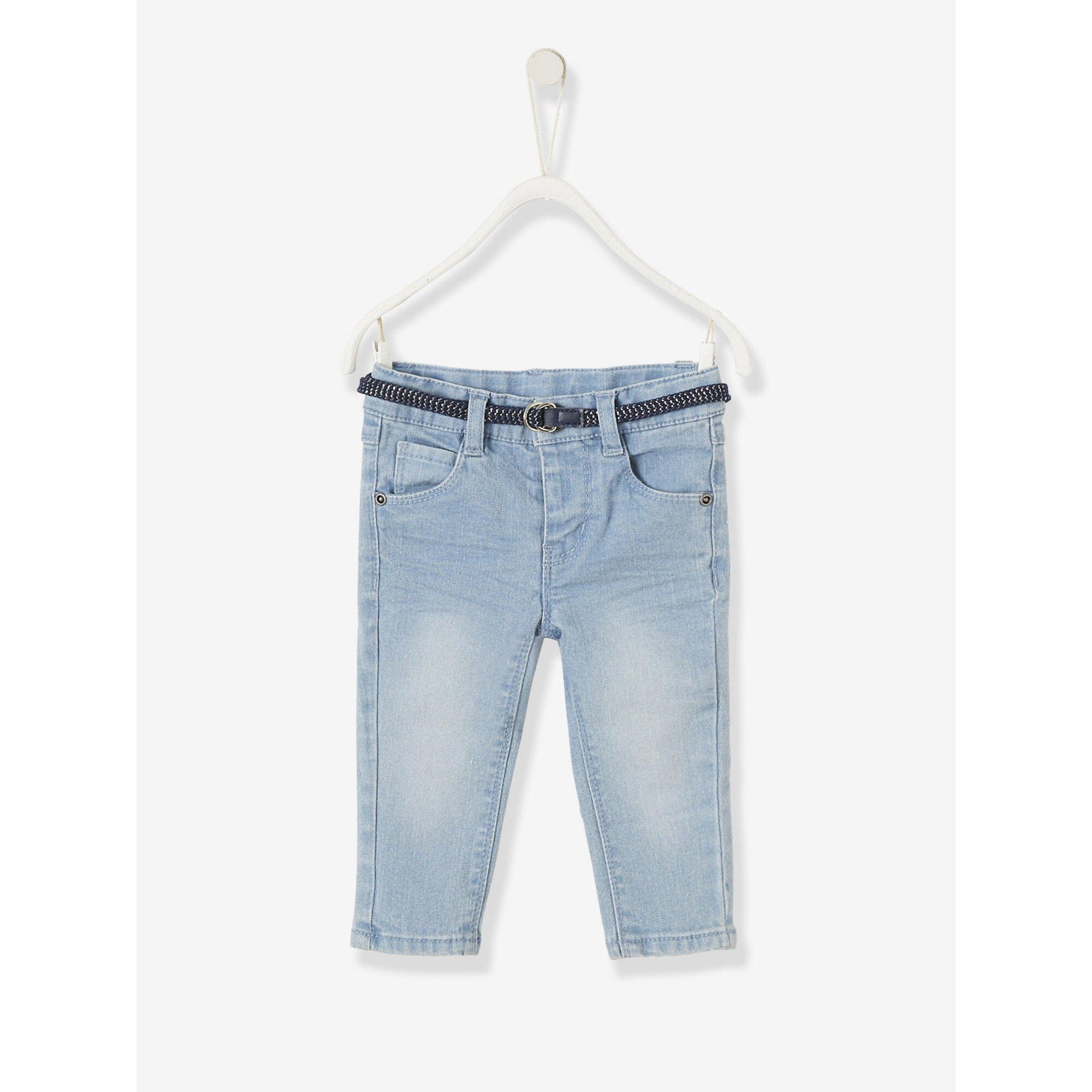 Vertbaudet Slim-Fit-Jeans Baby Mädchen, Glitzergürtel
