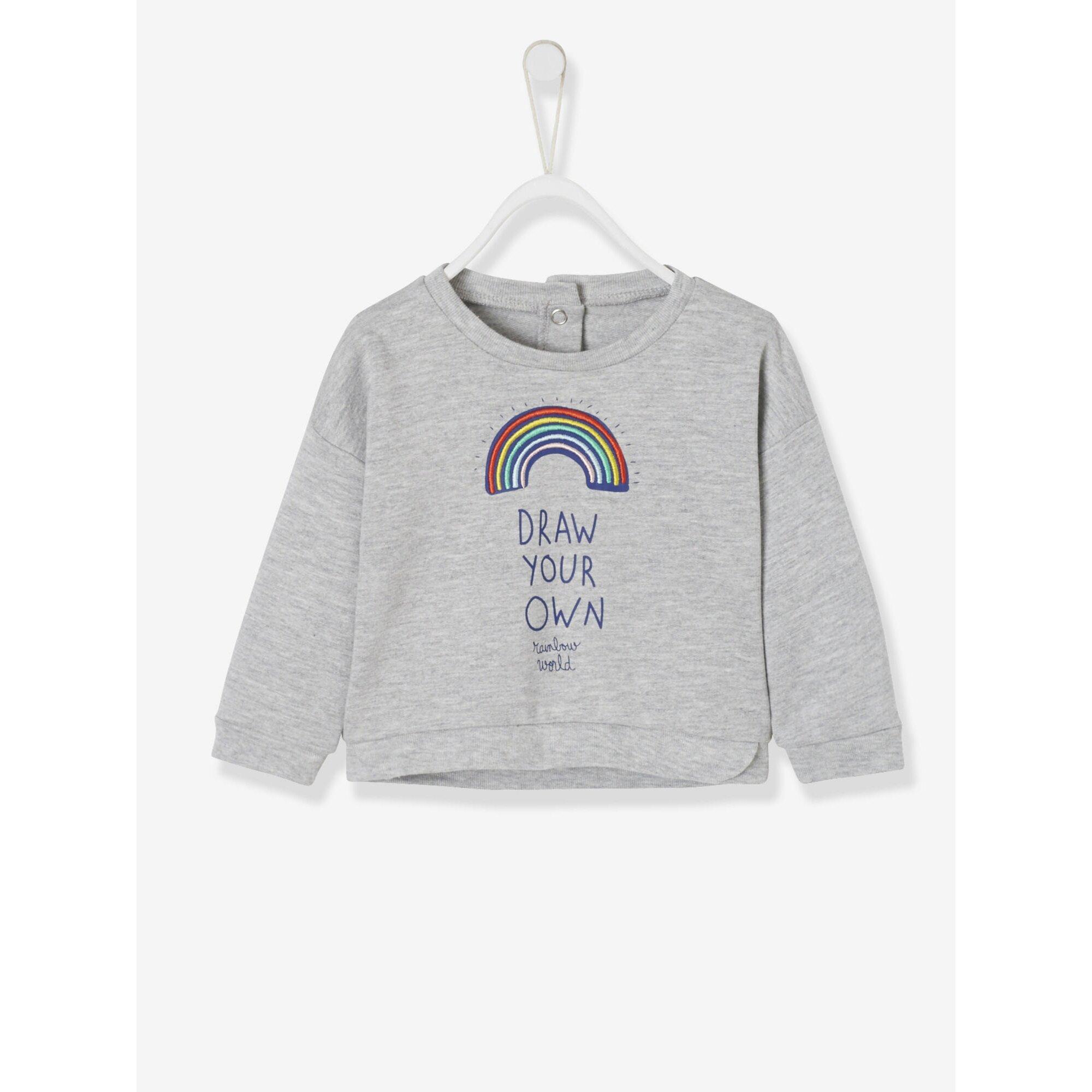 Vertbaudet Baby-Sweatshirt für Mädchen, Regenbogen