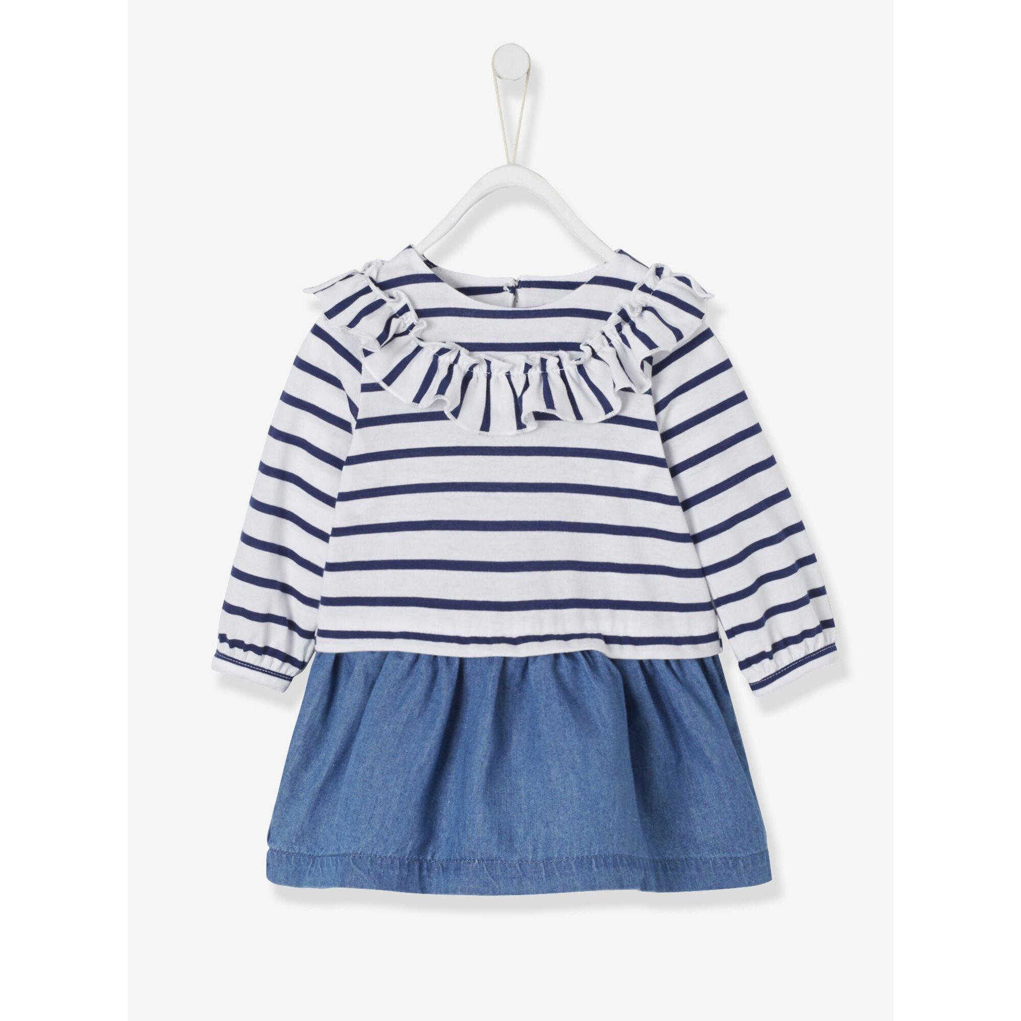 Vertbaudet Baby Mädchen 2-in-1-Kleid, Materialmix