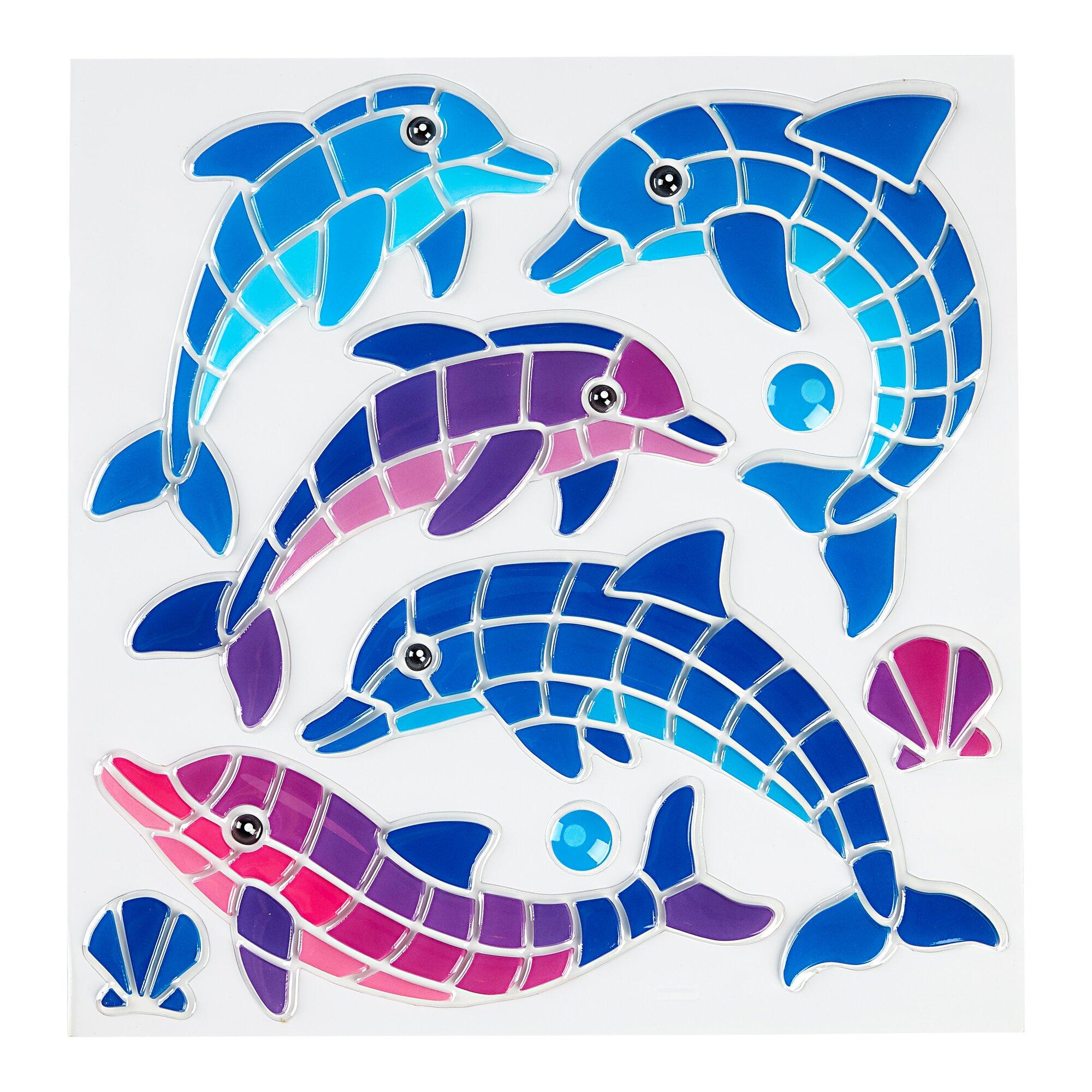 """Image of genialo® Bad-Sticker """"Delfin"""", 9 Teile"""