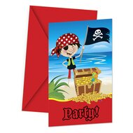6er-Pack Einladungskarten Piraten