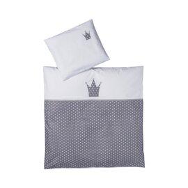 Bettwäsche Krone weiß/grau