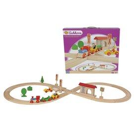 """L'ensemble train """"huit"""" en bois, 35 pièces"""