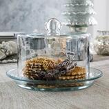 Teller Retjons aus Glas, mit Cloche
