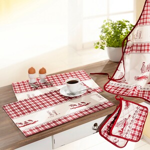 VIVADOMO  Ensemble de cuisine « Ferme »  Tablier, Maniques, Sets de table