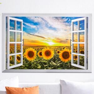 wandbild fenster sonnenblumenfeld online kaufen die. Black Bedroom Furniture Sets. Home Design Ideas