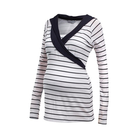 2HEARTS WE LOVE BASICS Still-Shirt langarm Wellness marine  Weiß / Marine 1