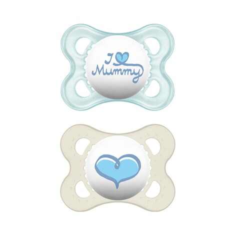MAM  2er-Pack Schnuller Original I love Mummy 0-6M  blau/transparent 1