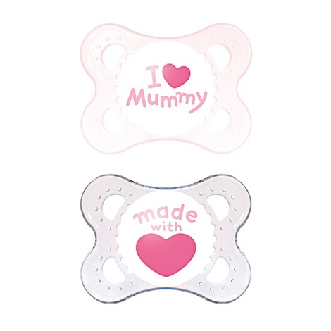 MAM  2er-Pack Schnuller Original I love Mummy 0-6M  rosa/transparent 1