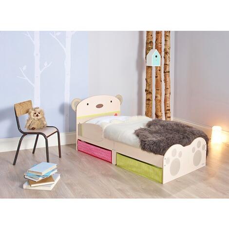 Kinderbett  WORLDSAPART Kinderbett Bärendesign mit Unterbettschüben 70x140 cm ...
