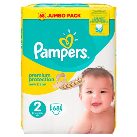 PAMPERS  Premium Protection Windeln New Baby Gr. 2 Mini 3-6 kg Jumbopack 68 Stück 1