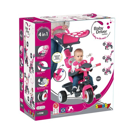 SMOBY  Dreirad Baby Driver Komfort 4 in 1  pink 8