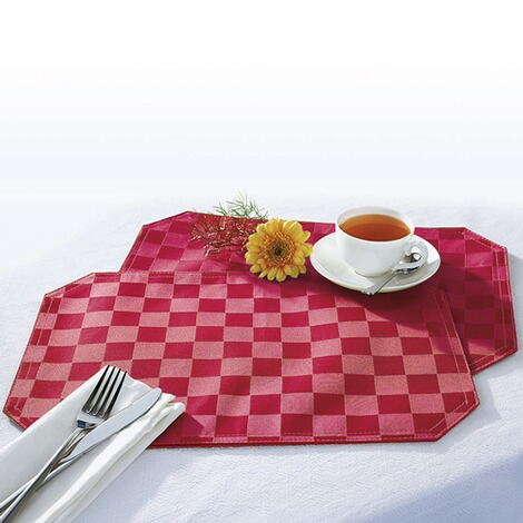 "vivaDOMO®  Jacquard placemats ""Speciaal""  rood 1"