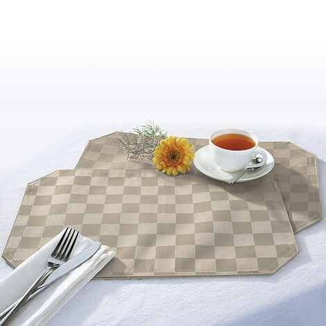 "vivaDOMO®  Jacquard placemats ""Speciaal""  beige 1"