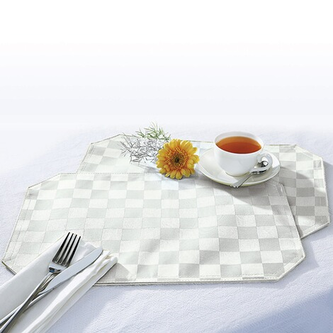 "vivaDOMO®Jacquard placemats ""Speciaal""  wit 1"