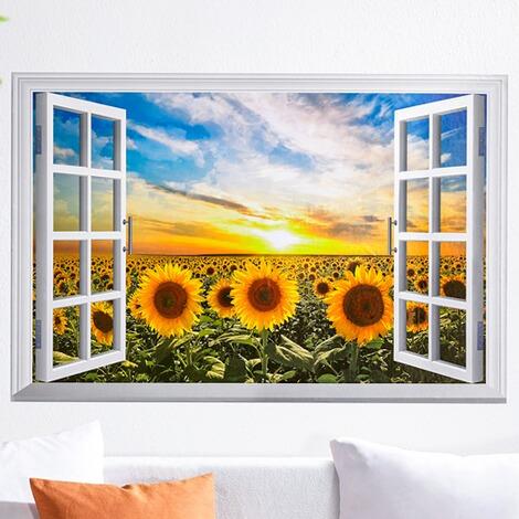 wandbild fenster sonnenblumenfeld online kaufen die moderne hausfrau. Black Bedroom Furniture Sets. Home Design Ideas