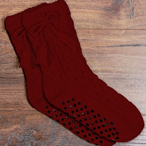 Anti-Rutsch-Socken  bordeaux 2