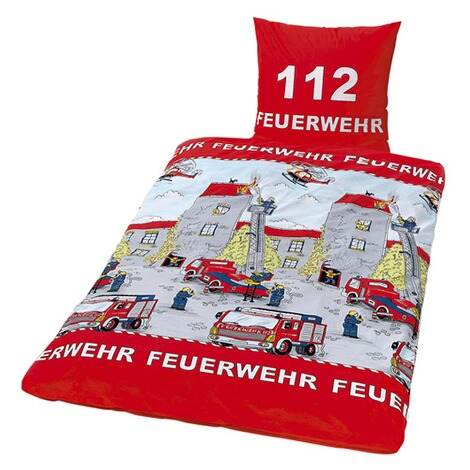 herding linon bettw sche feuerwehr 80x80 135x200 cm online kaufen baby walz. Black Bedroom Furniture Sets. Home Design Ideas