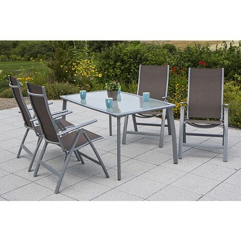 MERXX Gartenmöbel-Set 5-tgl. Ravenna, Klappsessel und Tisch oval ...